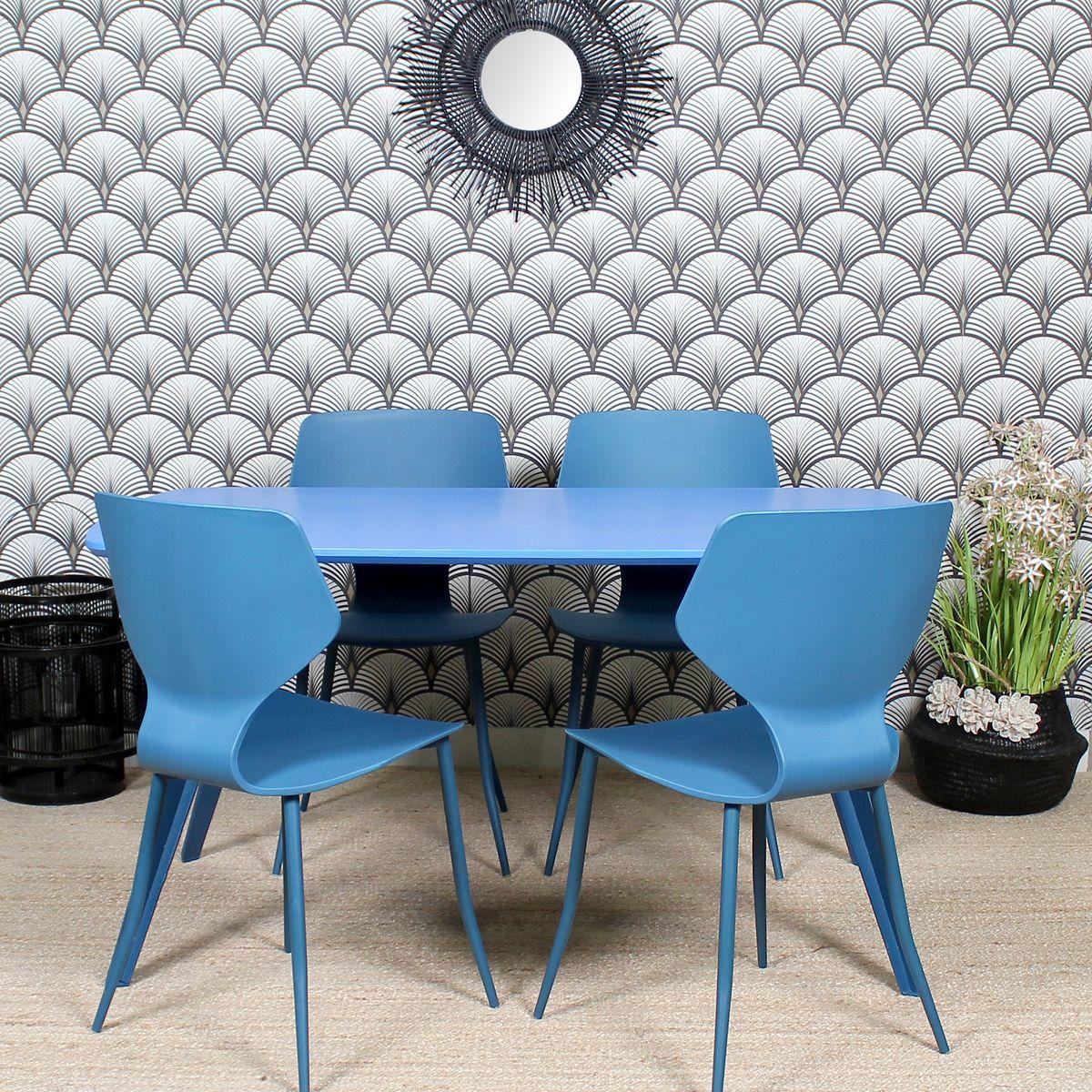 Table effet bois bleu 140cm
