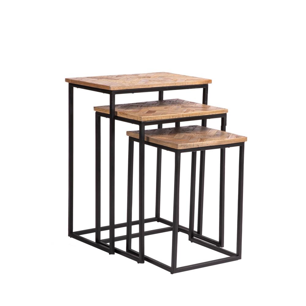 3 tables basses gigognes rectangles en métal et teck recyclé