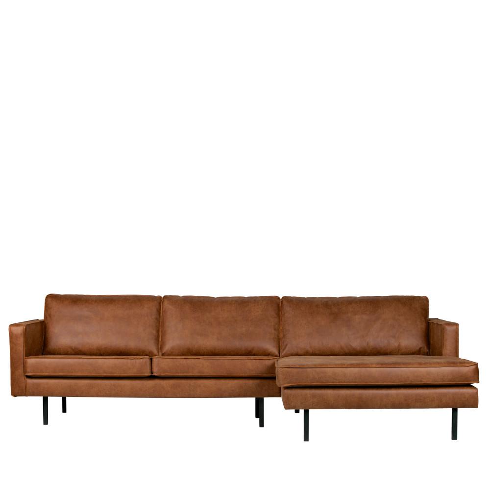Canapé d'angle droit vintage méridienne XXL cognac