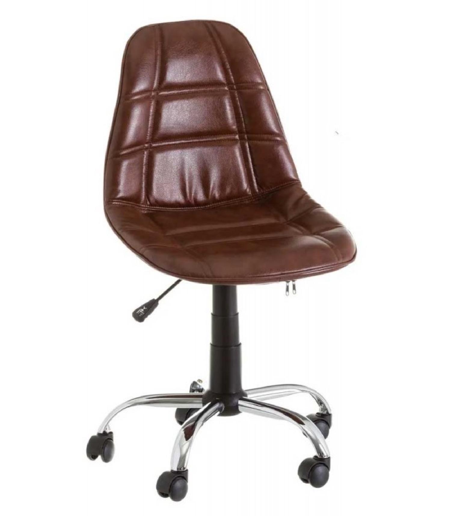 Chaise de bureau style vintage similicuir marron