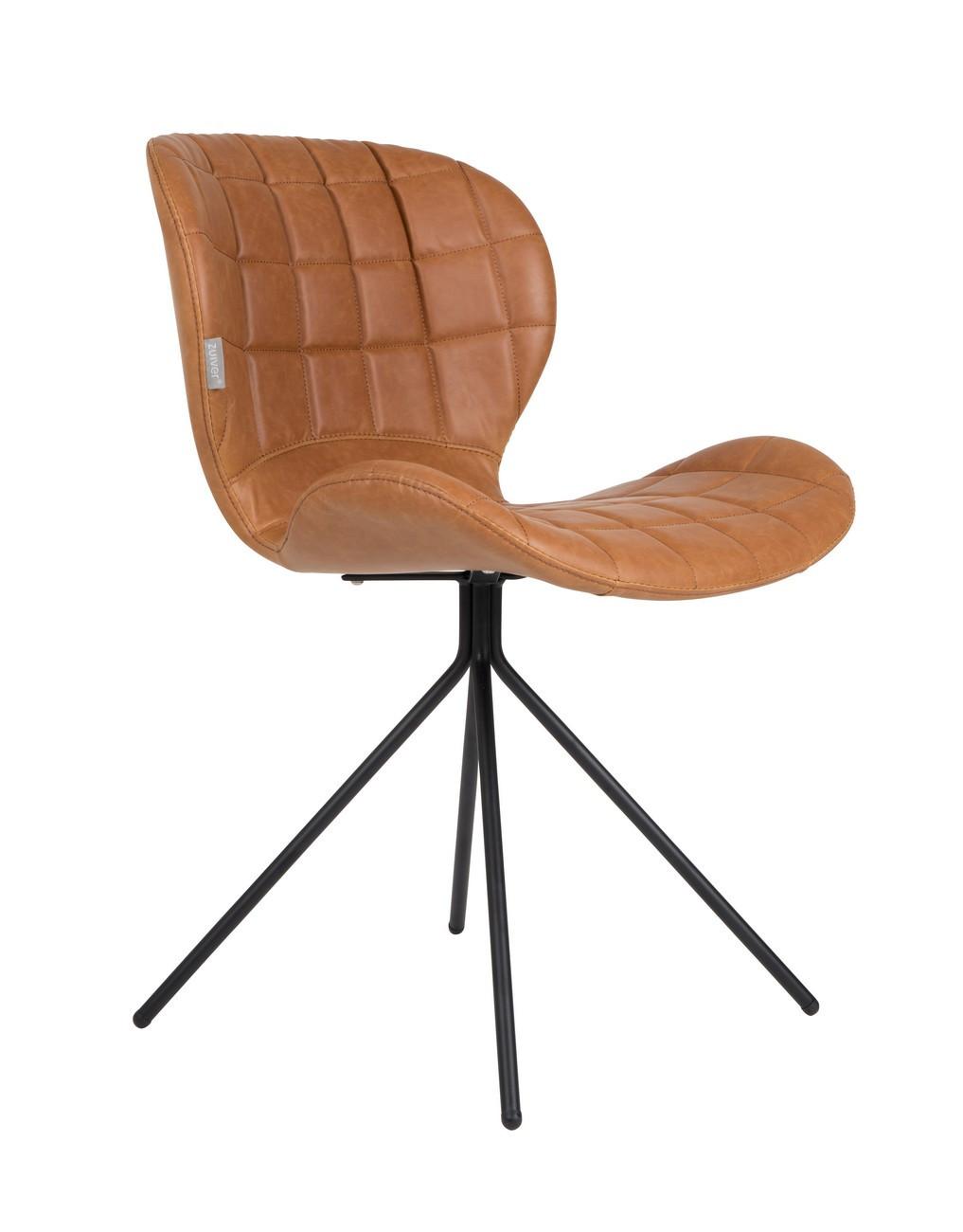 Chaise design aspect cuir marron