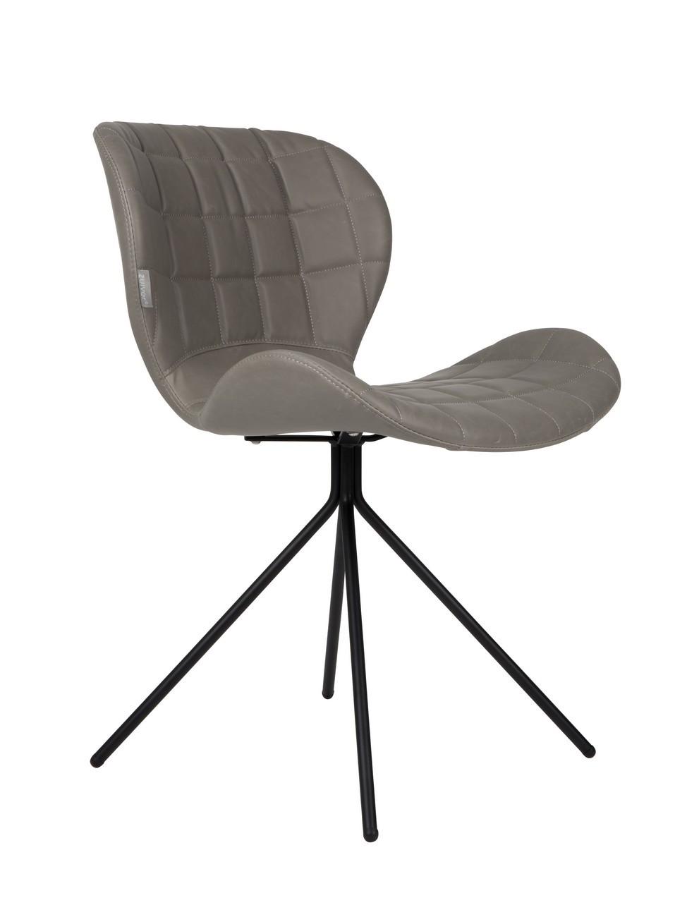 Chaise design aspect cuir gris
