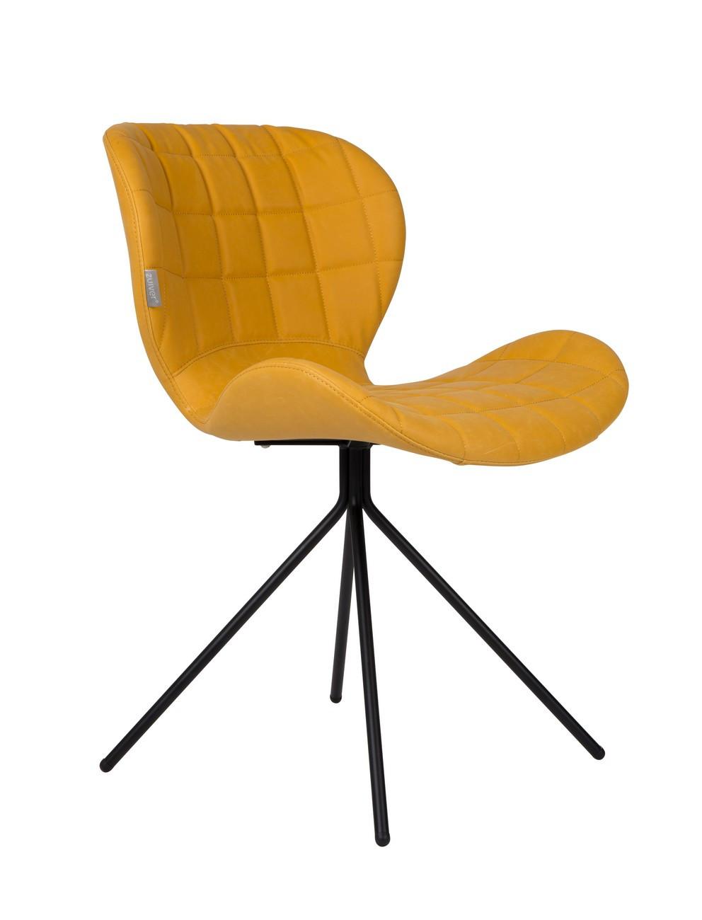Chaise design en aspect cuir jaune
