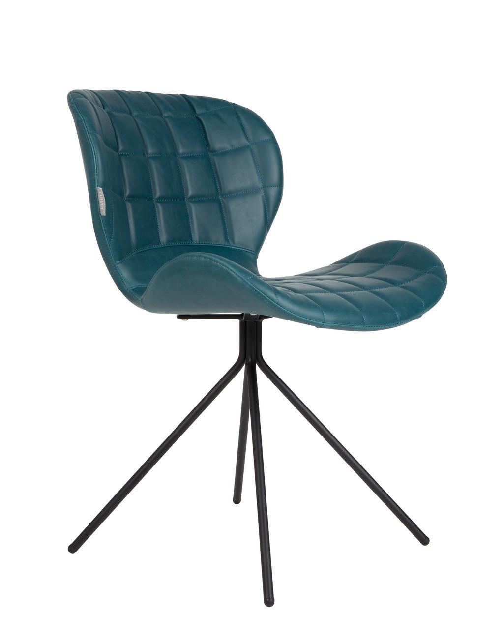 Chaise design aspect cuir bleu