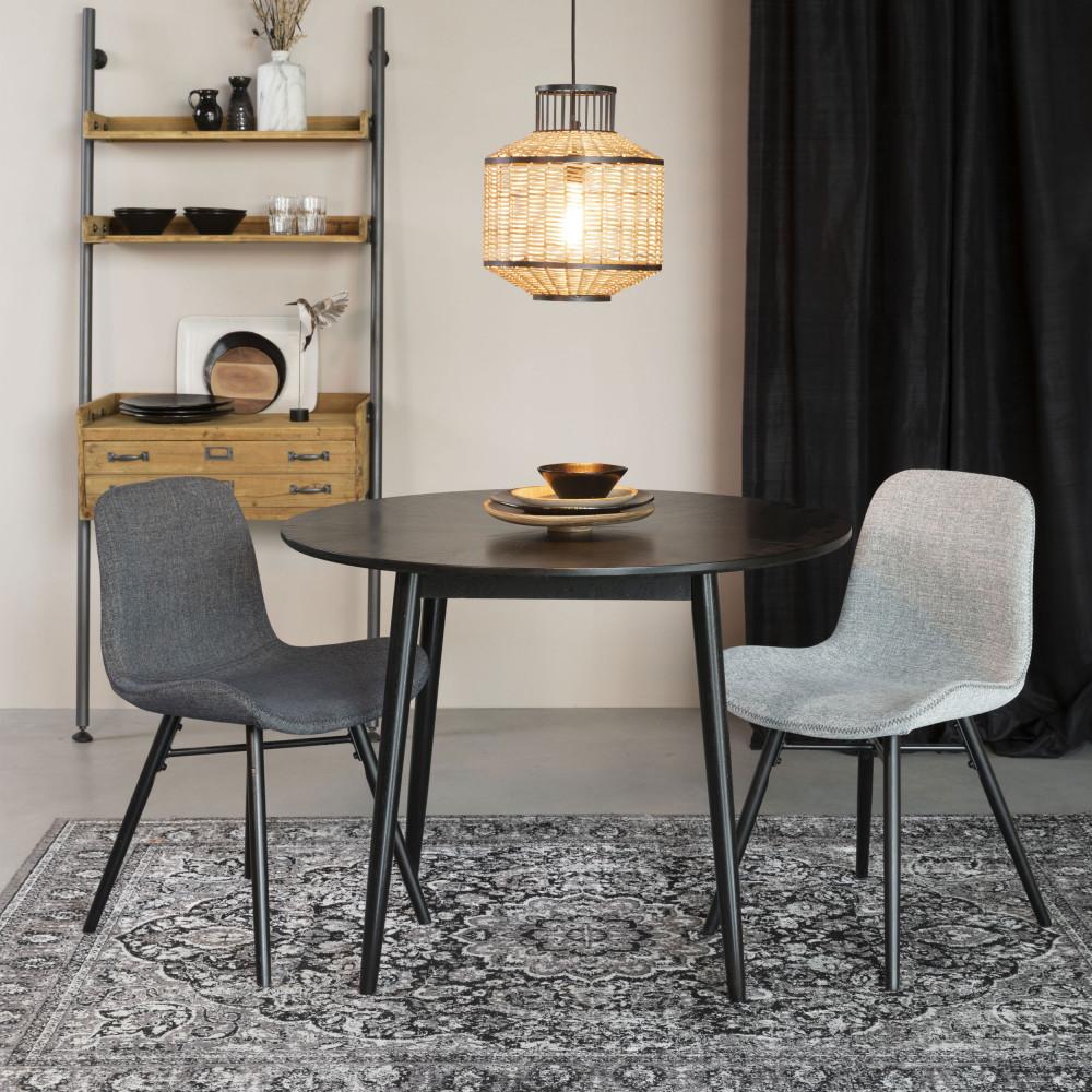 Table à manger ronde en bois D100cm noir