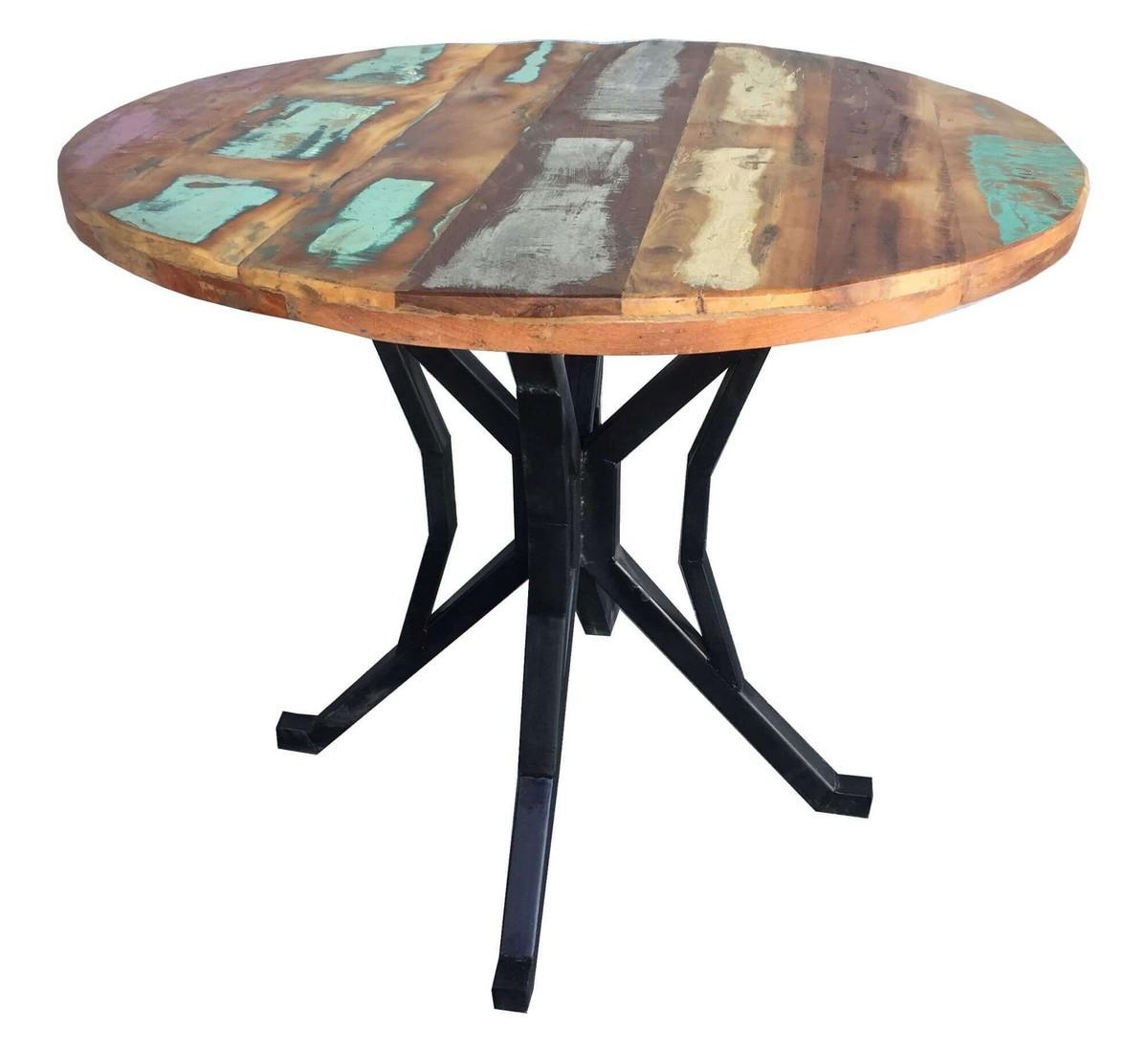 Table repas ronde bois massif recyclé coloré