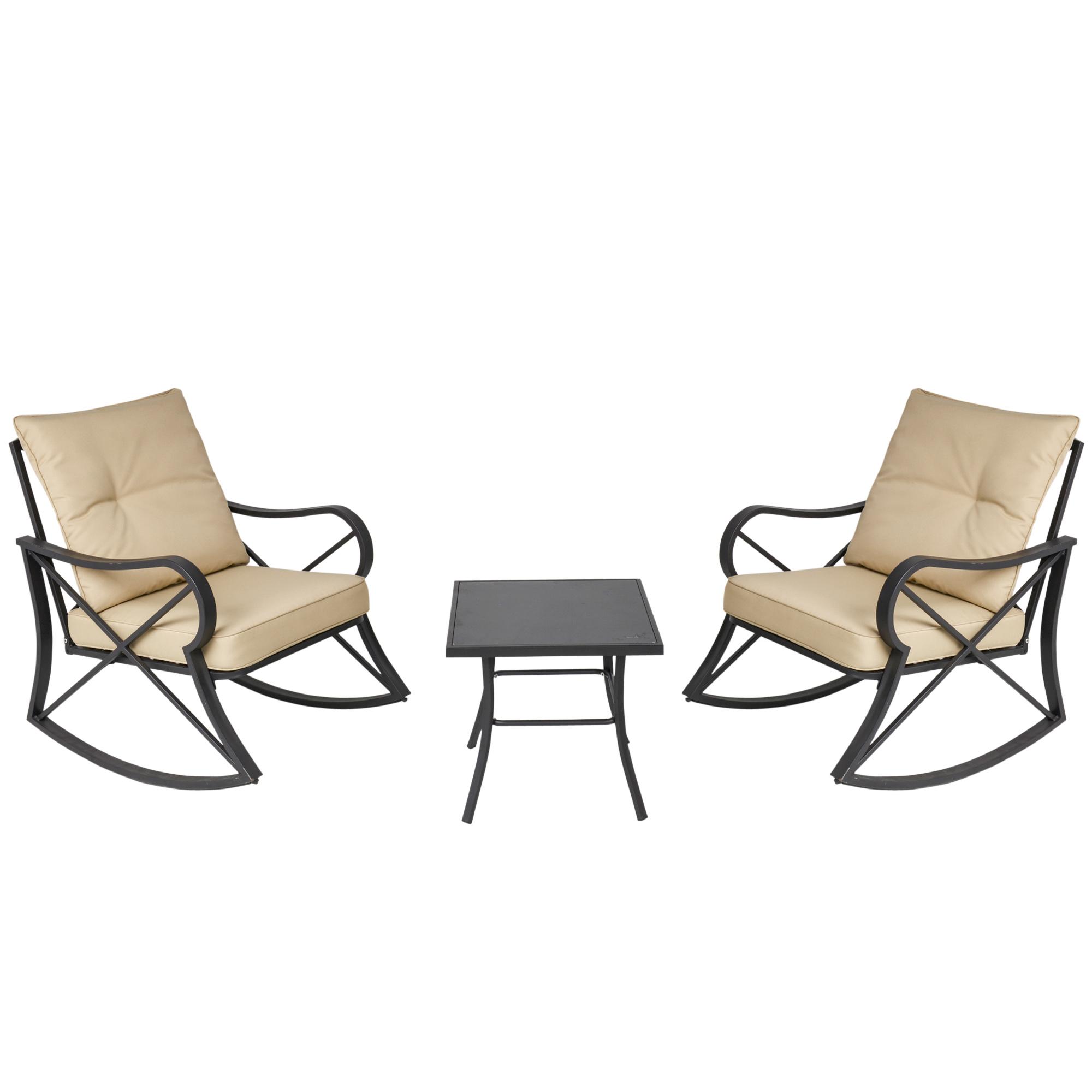 Ensemble de jardin 3 pièces acier époxy noir polyester beige