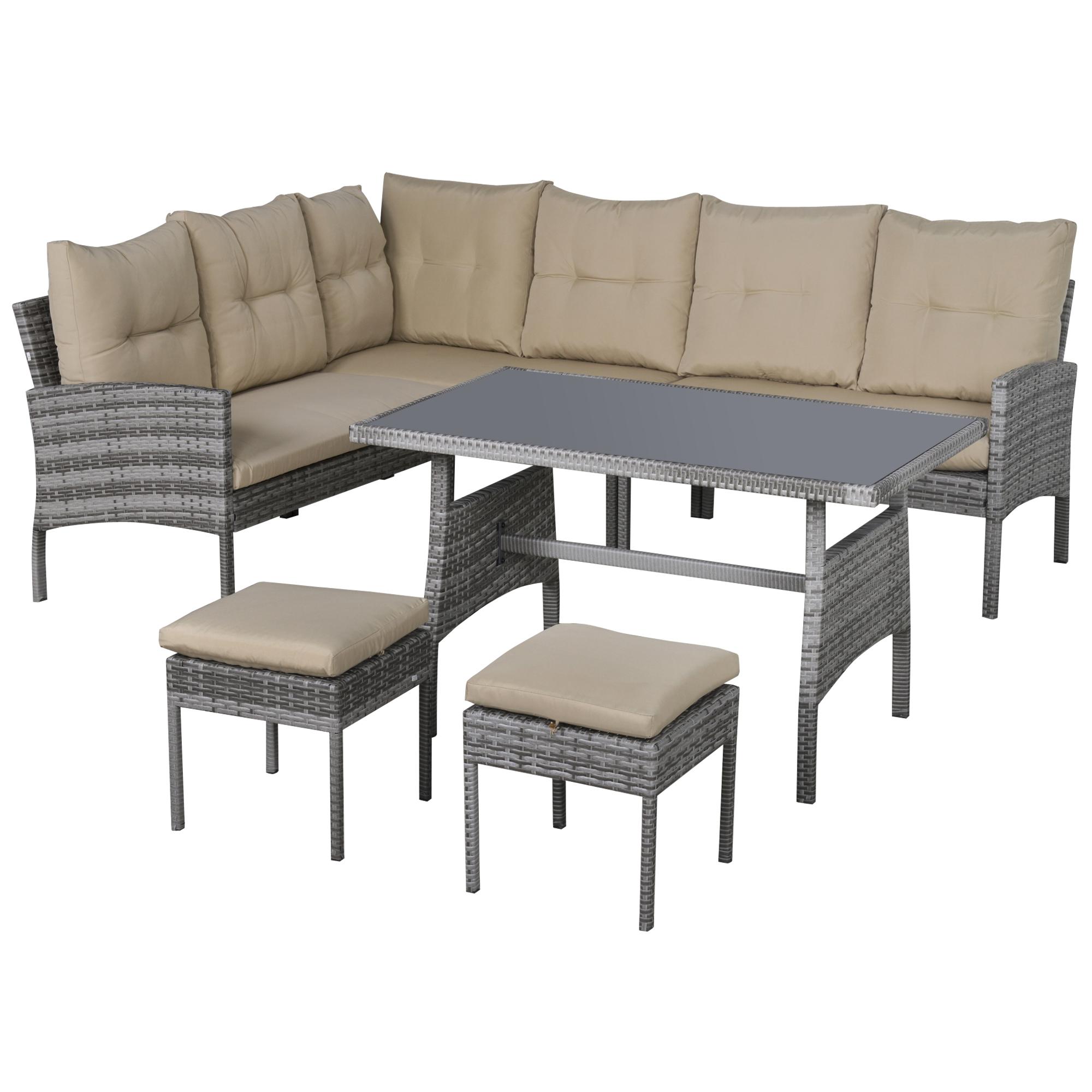 Salon de jardin 6 places table à manger coussins résine tressée grise
