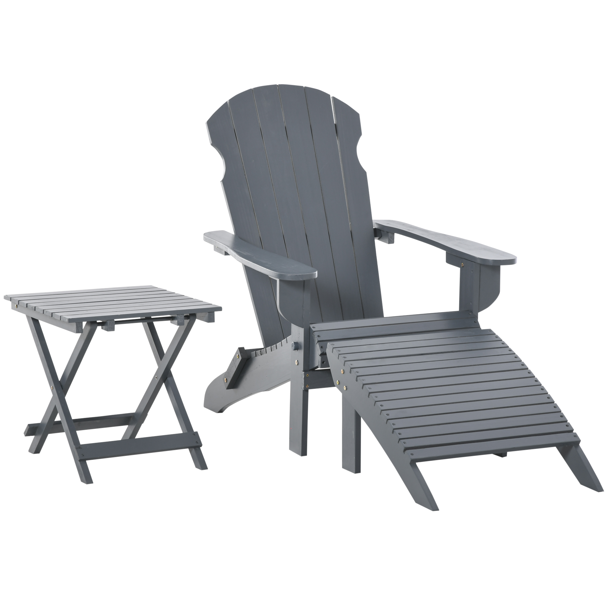 Fauteuil jardin pliable repose-pied table basse sapin gris