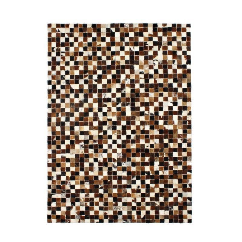 Tapis en cuir motif mosaïque multi marron 190x290