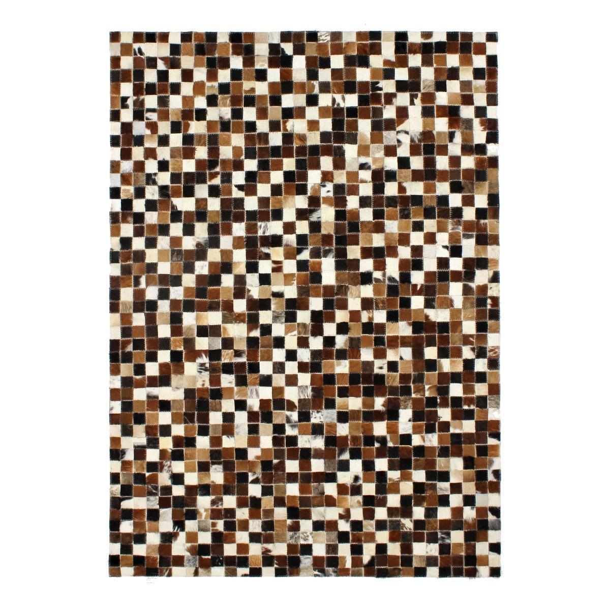Tapis en cuir motif mosaïque marron multi 160x230