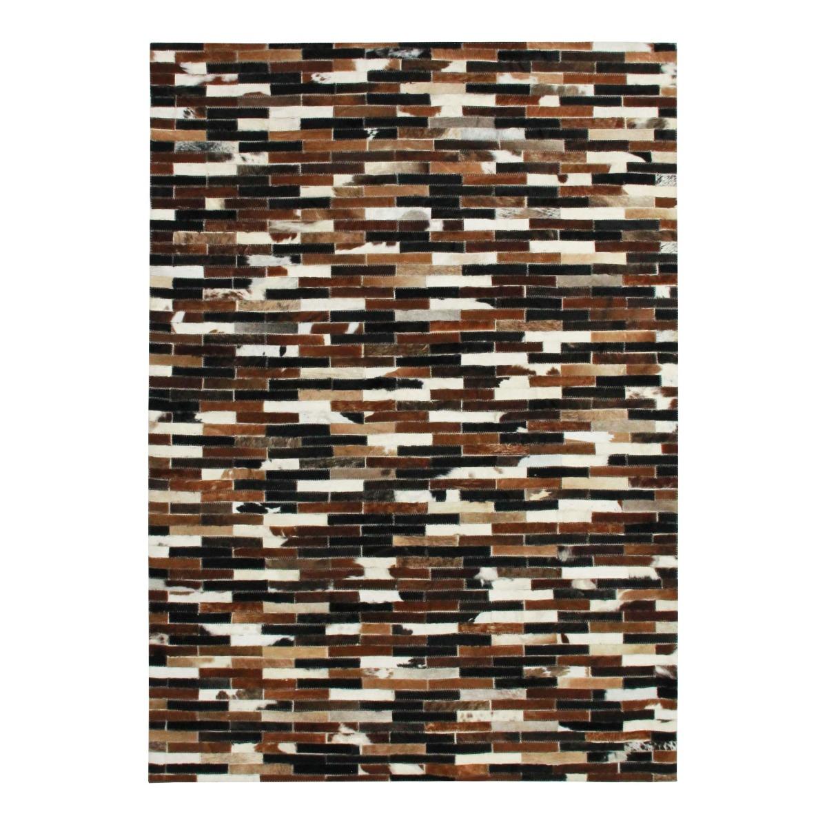 Tapis en cuir lignes marron multi 140x200