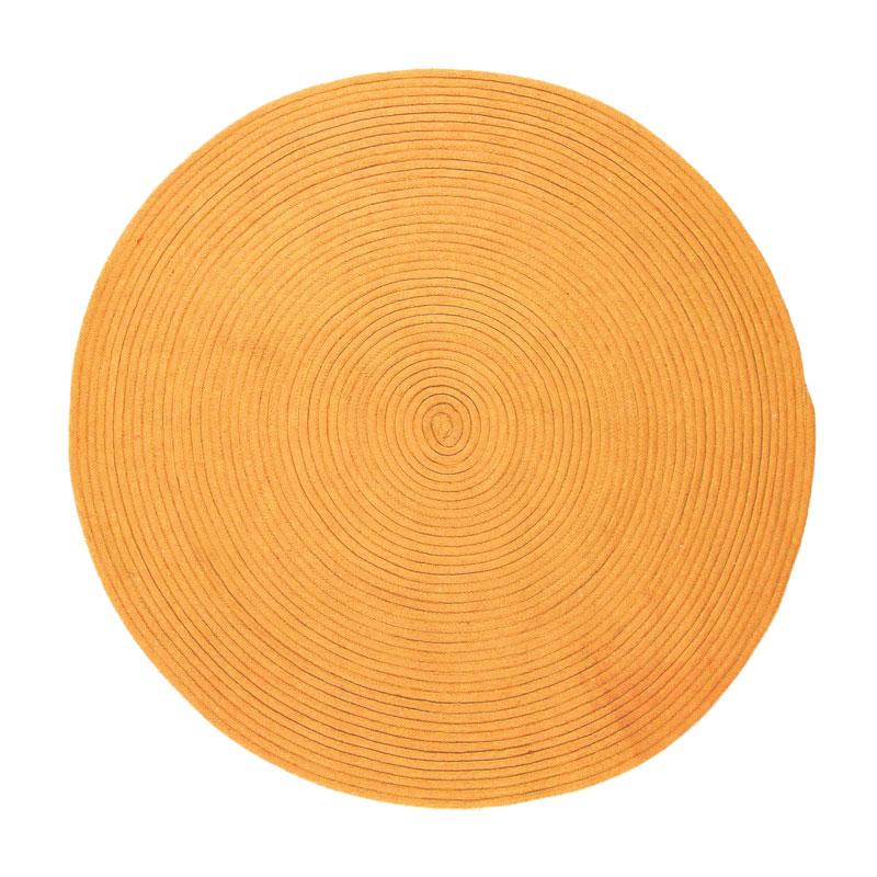 Tapis en coton réversible effet cordage jaune diam.120