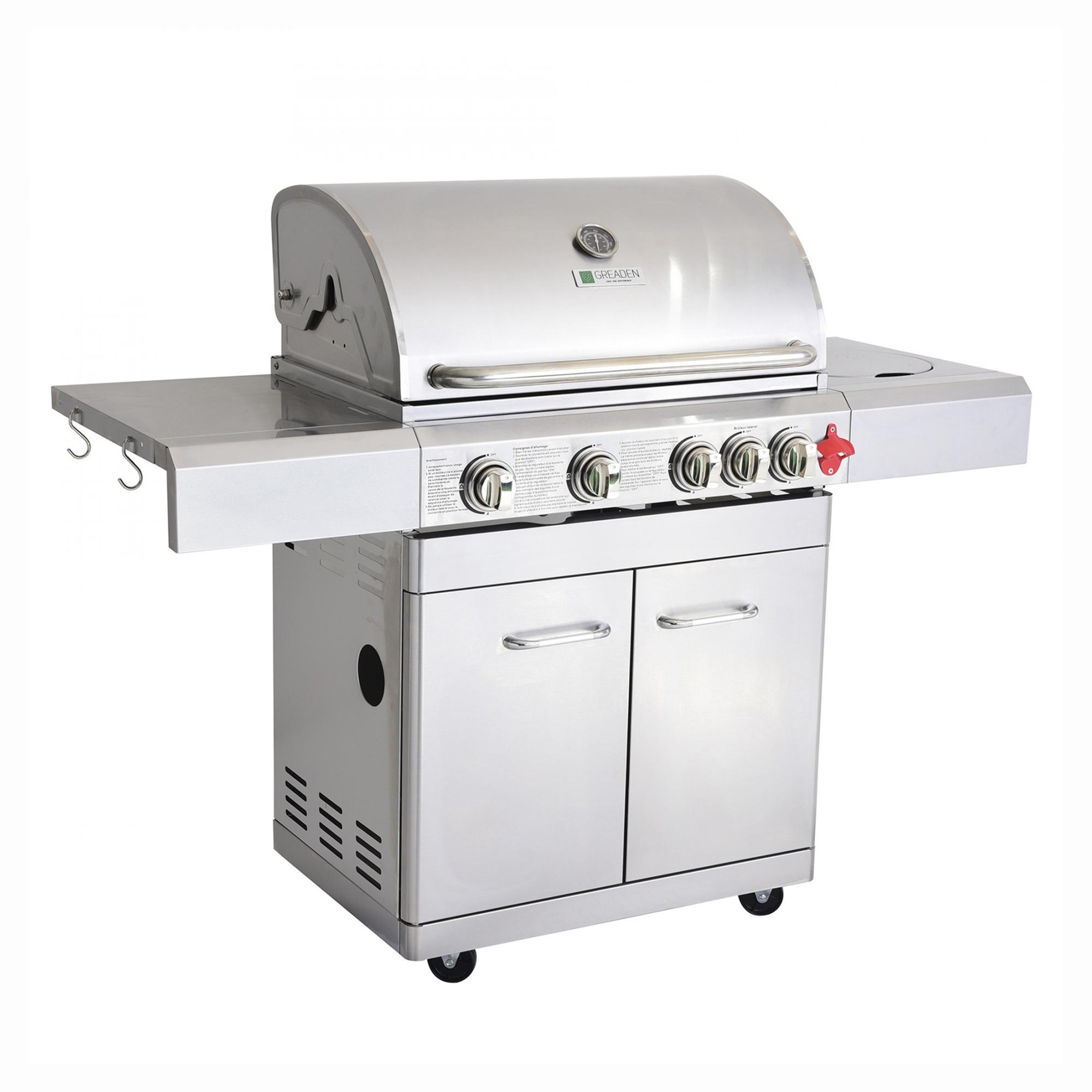 Barbecue à gaz 4 brûleurs avec kit flexible et housse en acier inox