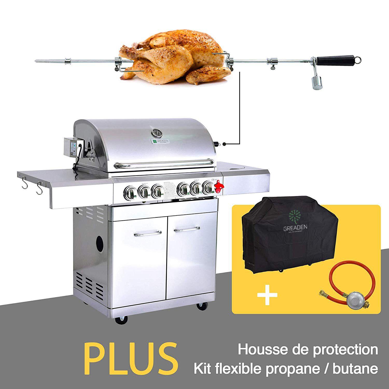 Barbecue à gaz 5 brûleurs avec kit flexible et housse en acier inox