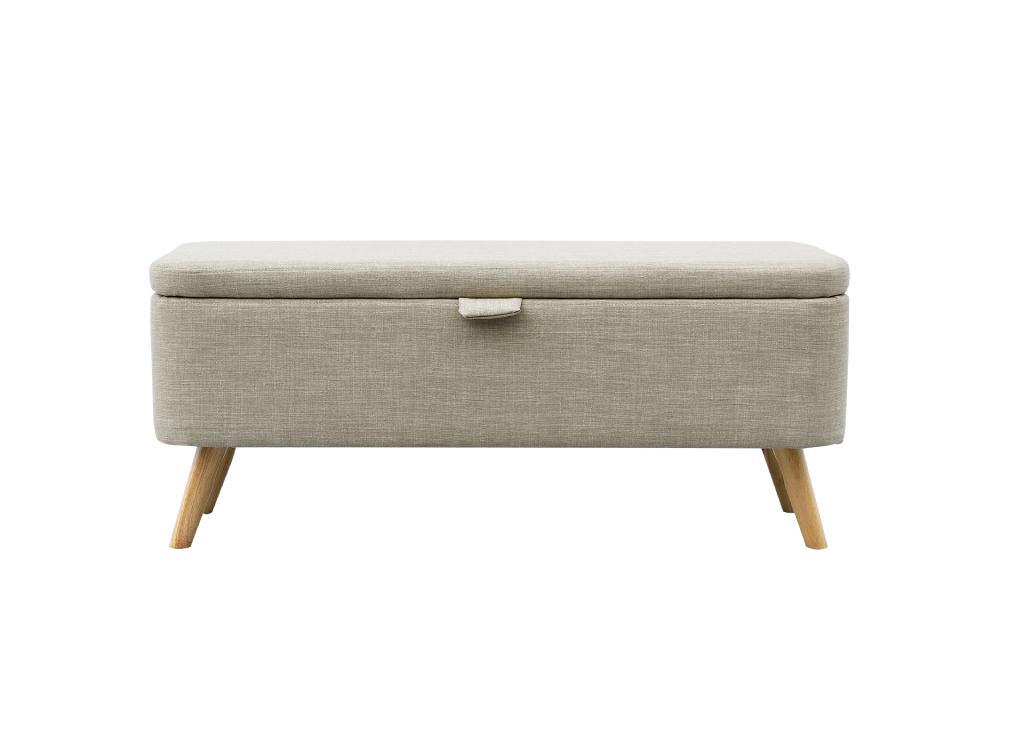 Bout de lit en tissu beige avec coffre de rangement et pieds en bois