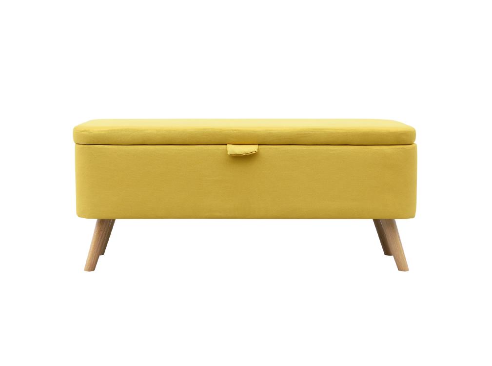 Bout de lit en tissu jaune avec coffre de rangement et pieds en bois