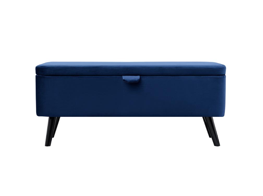 Bout de lit bleu avec coffre de rangement et pieds en bois