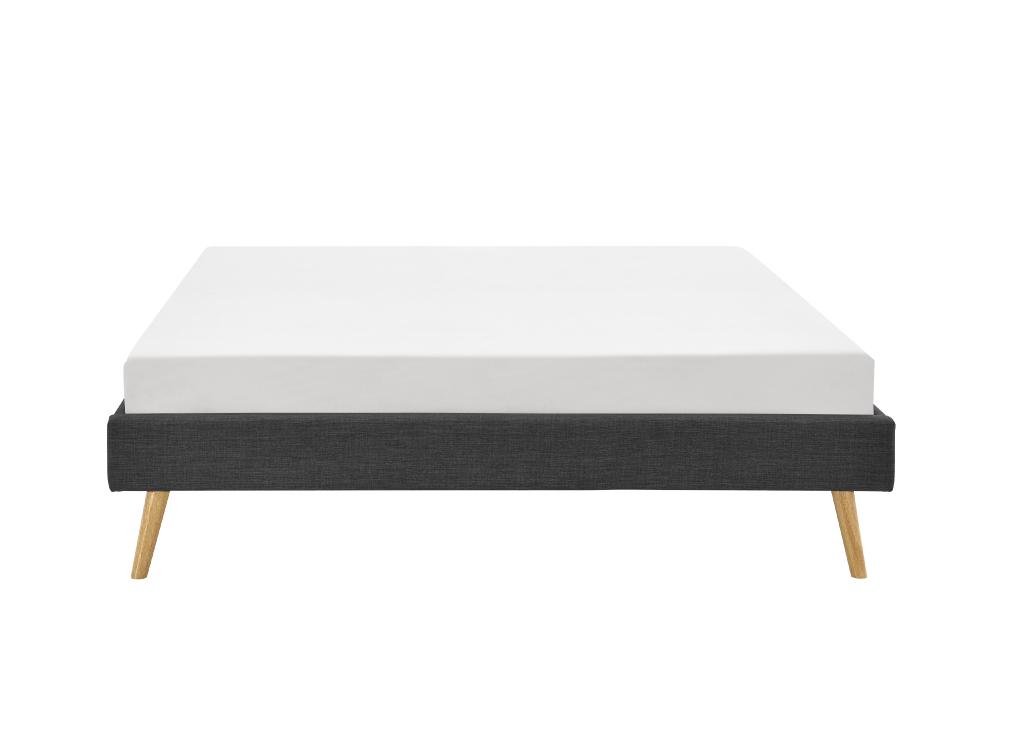 Cadre de lit scandinave en tissu gris foncé 140x190
