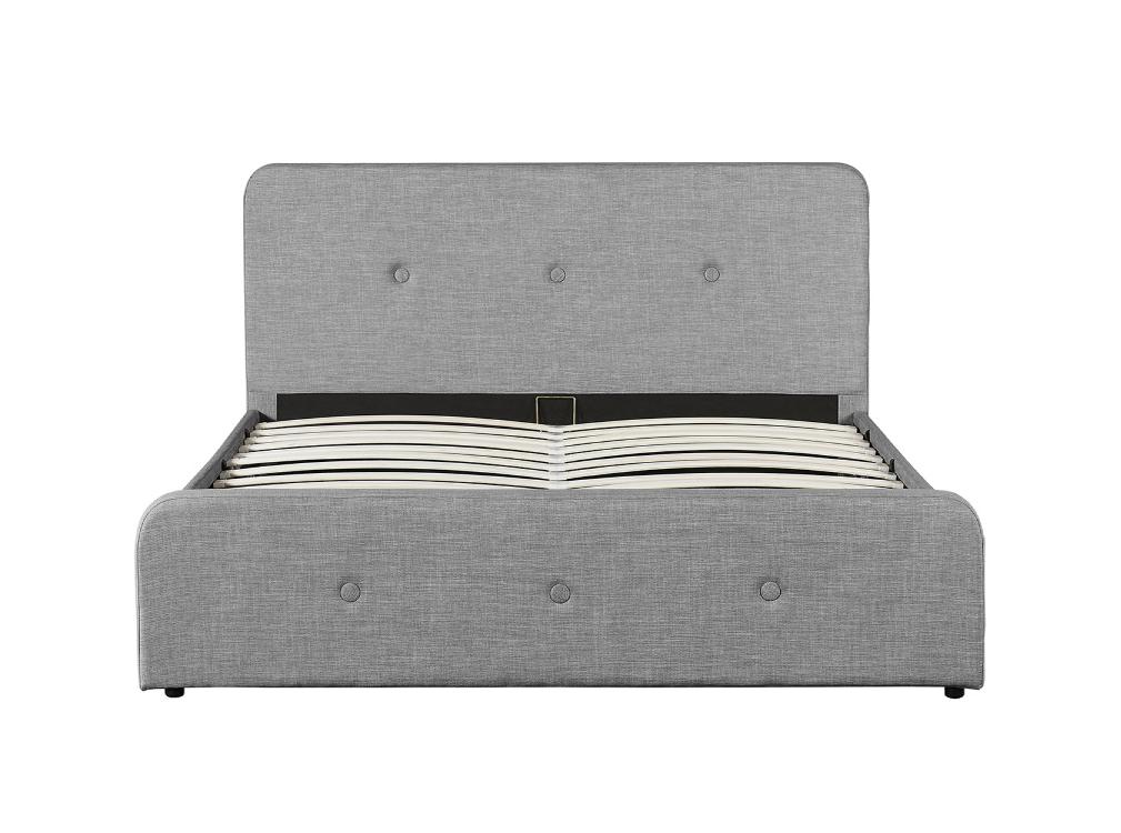 Cadre de lit gris avec sommier relevable à lattes 160x200