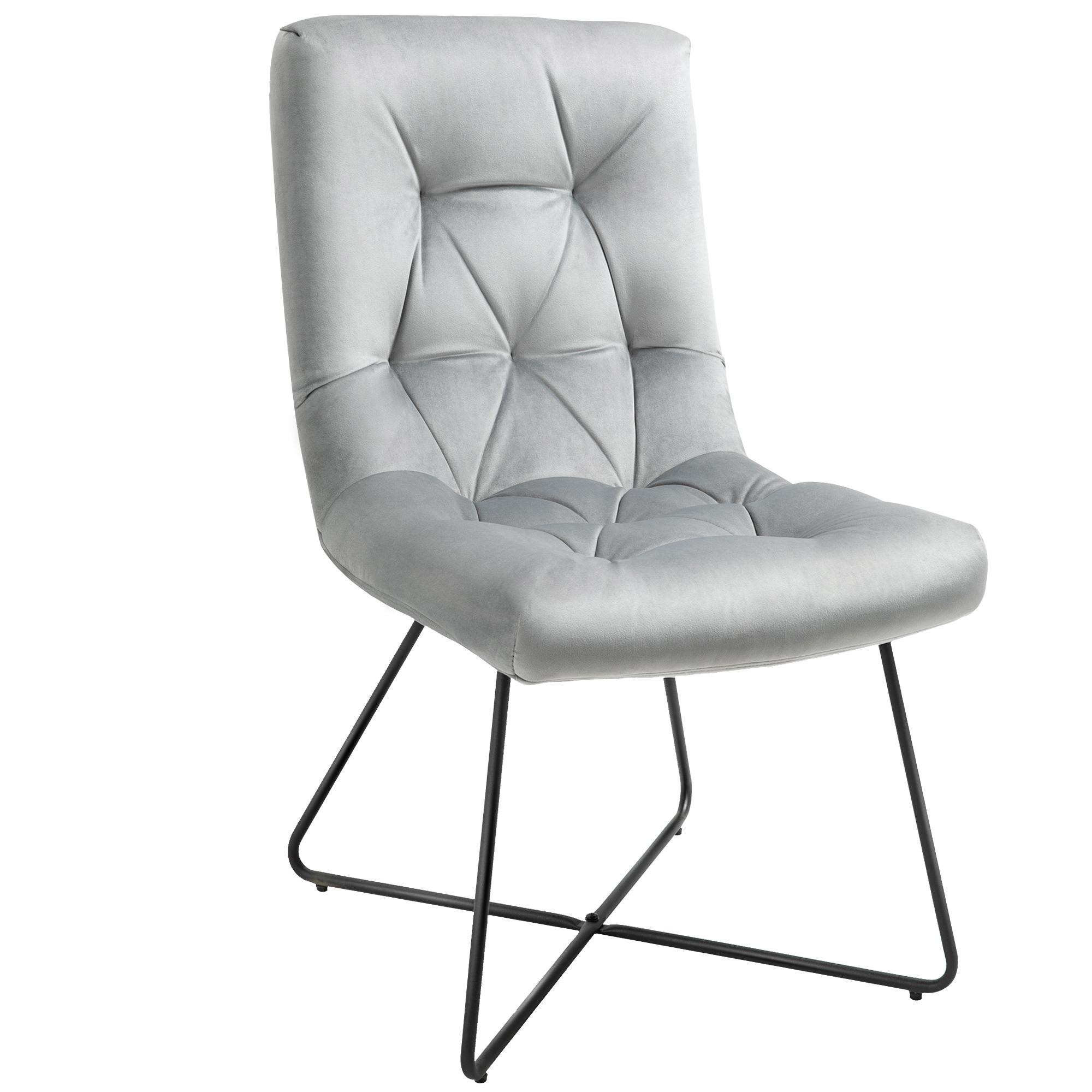 Chaise design néo-rétro capitonné piètement croisé métal noir velours