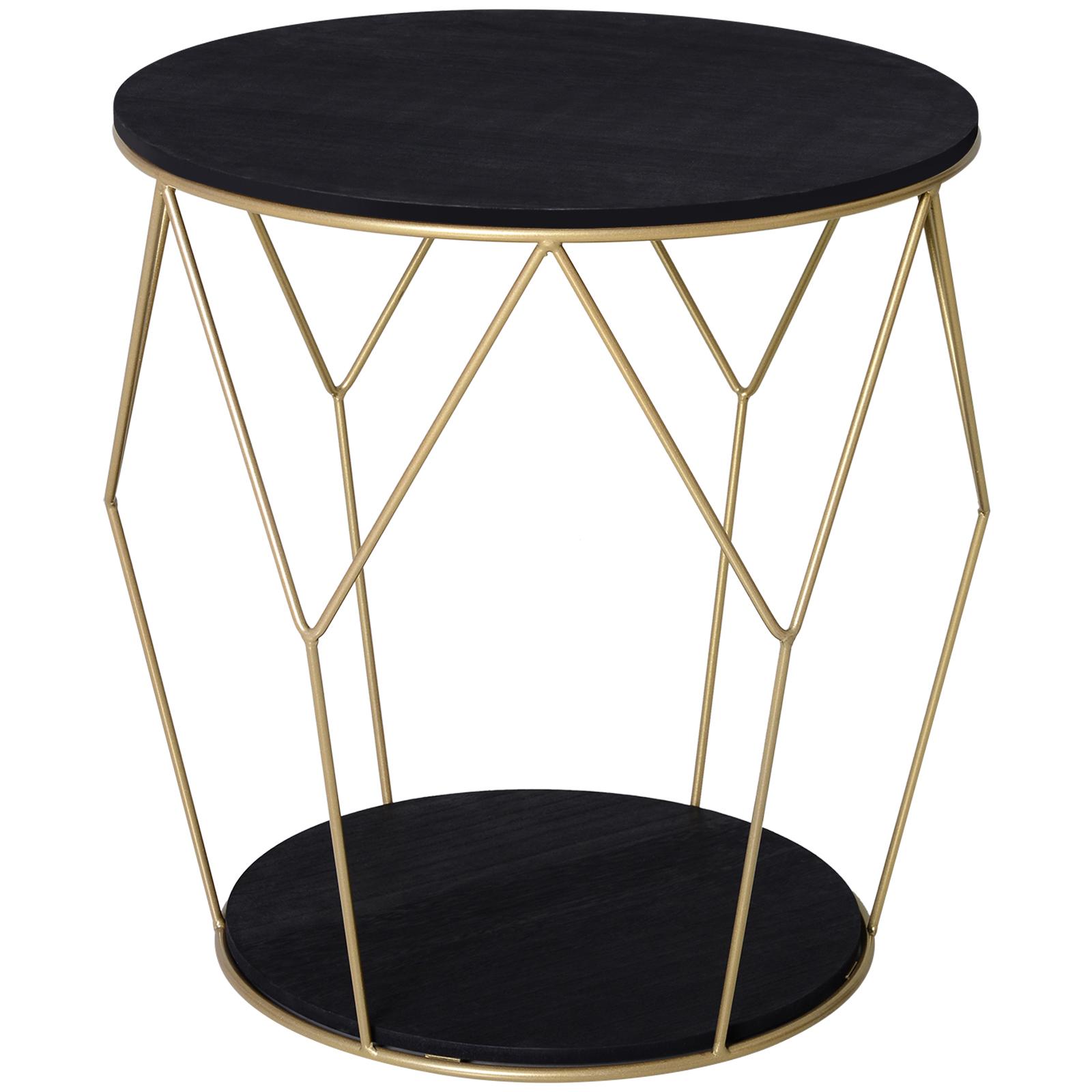 Table basse ronde design style art déco noir doré