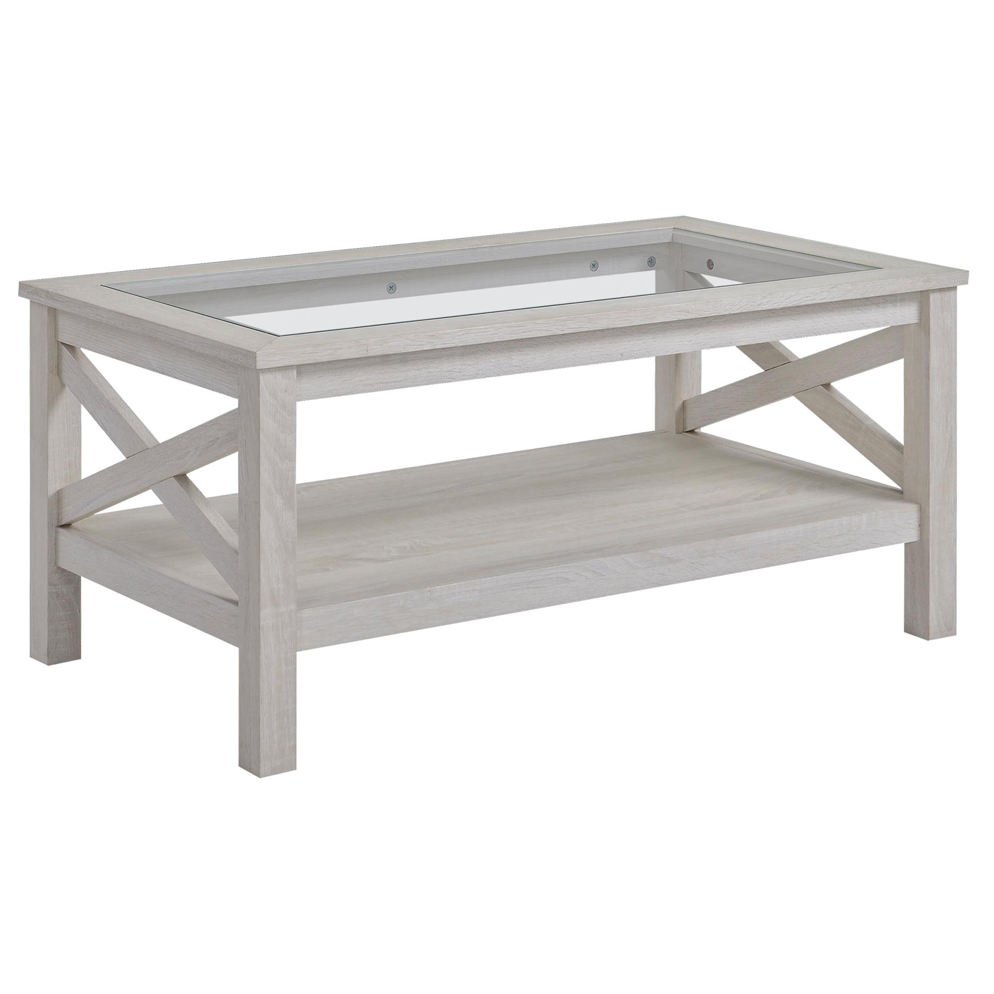 Table basse étagère plateau verre trempé aspect bois gris clair