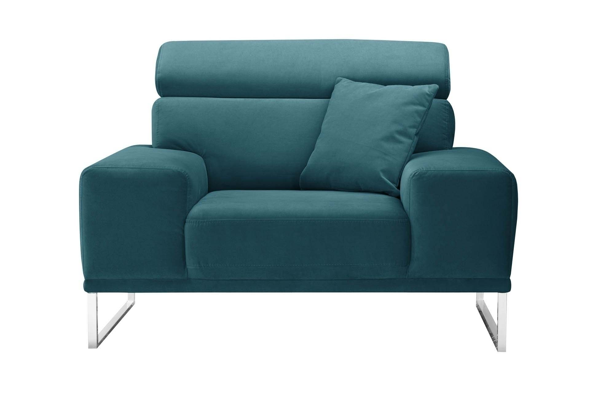 Fauteuil 1 place en velours bleu turquoise