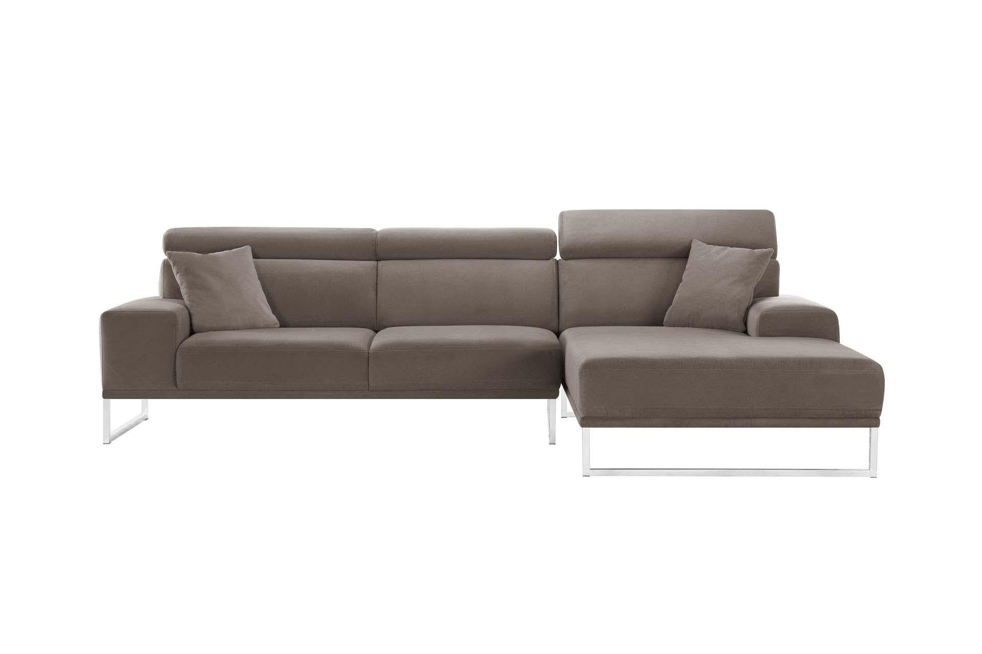 Canapé d'angle droit 5 places en velours taupe