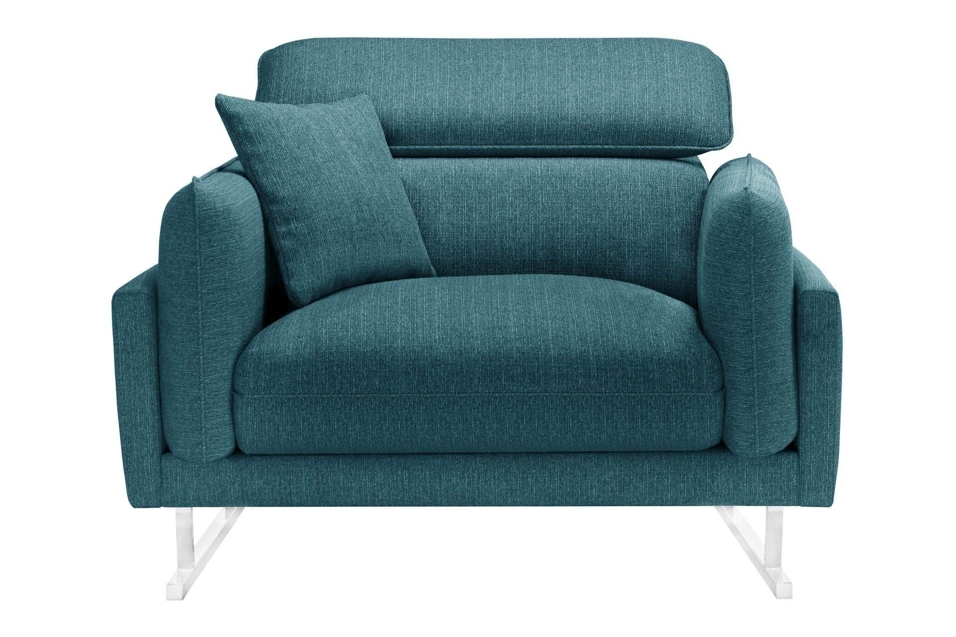 Fauteuil 1 place toucher lin turquoise