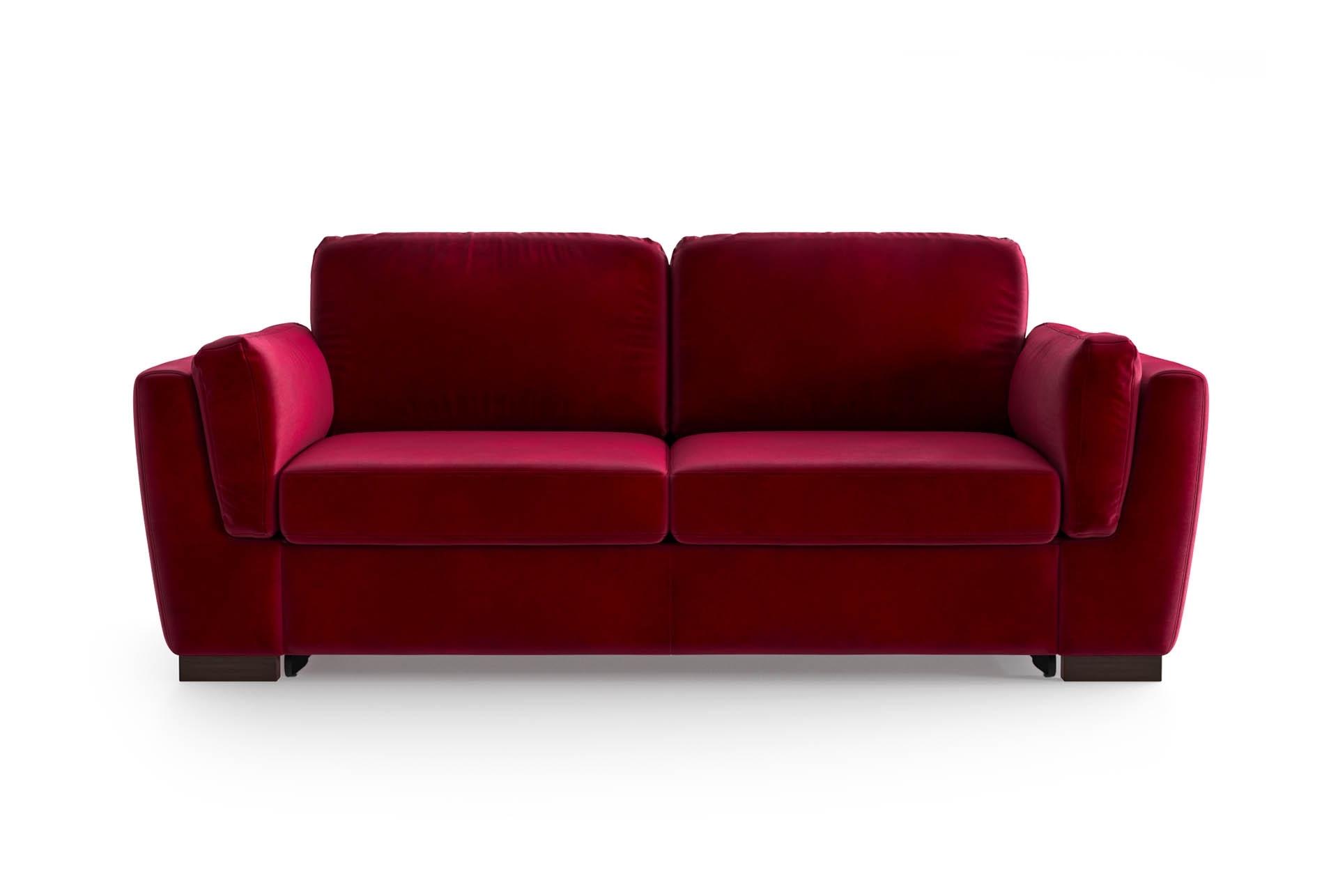 Canapé convertible 2 places en velours rouge