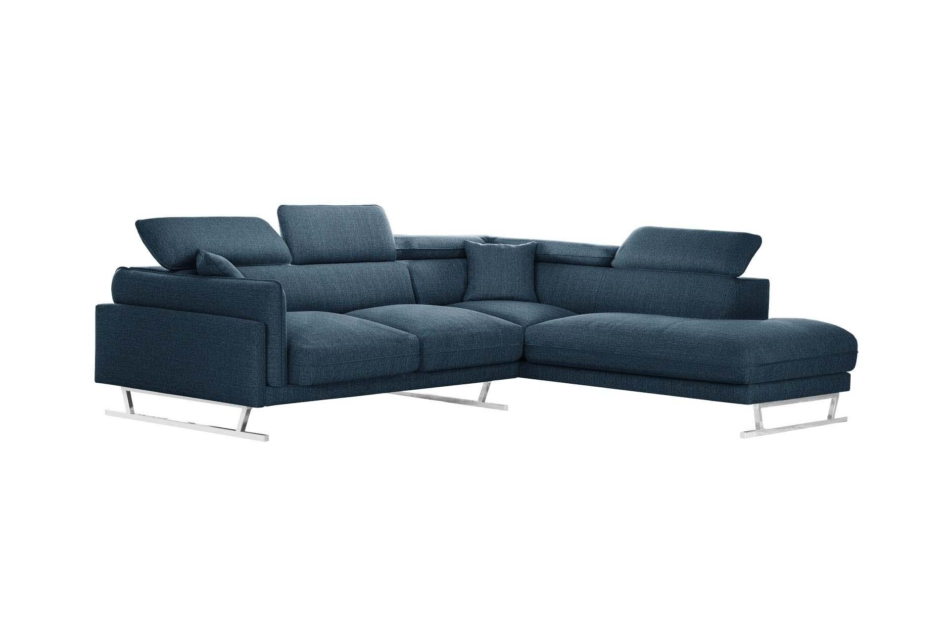 Canapé d'angle 6 places Bleu Tissu Luxe Design Confort