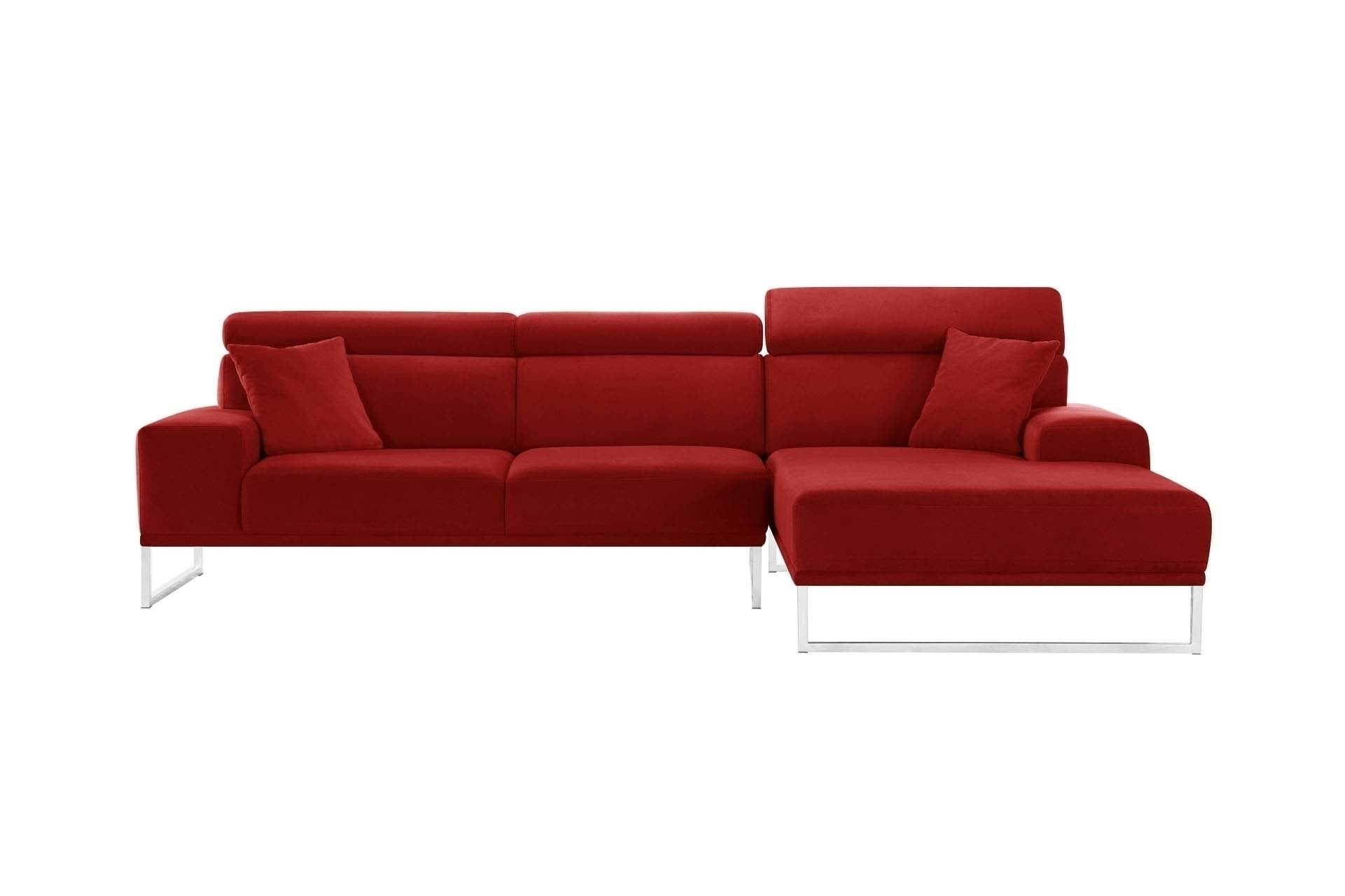 Canapé d'angle droit 5 places en velours glamour rouge