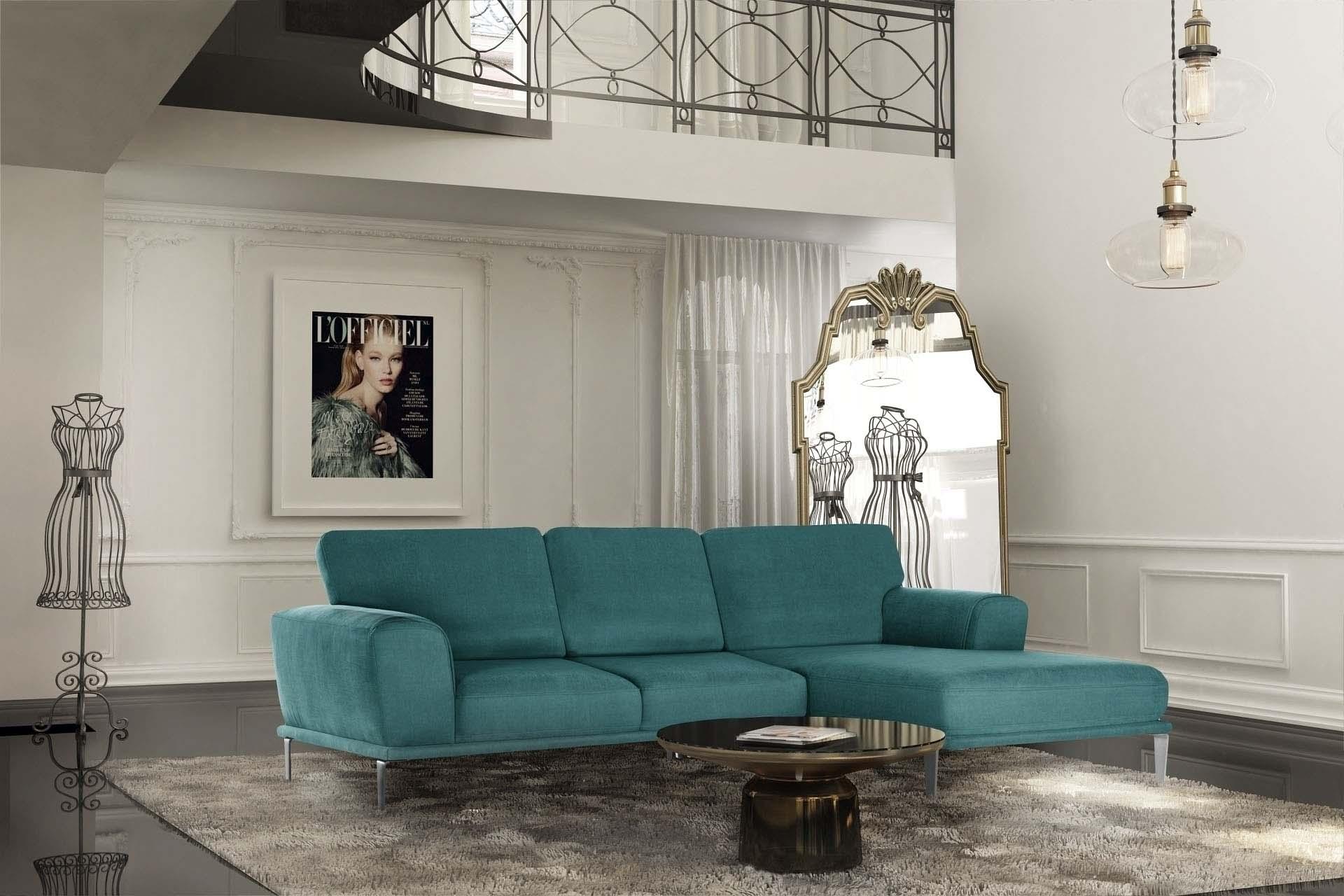 Canapé d'angle droit 5 places toucher coton turquoise