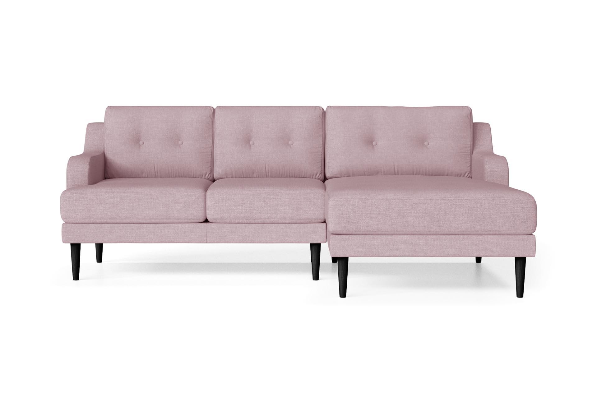 Canapé d'angle droit 4 places toucher lin rose