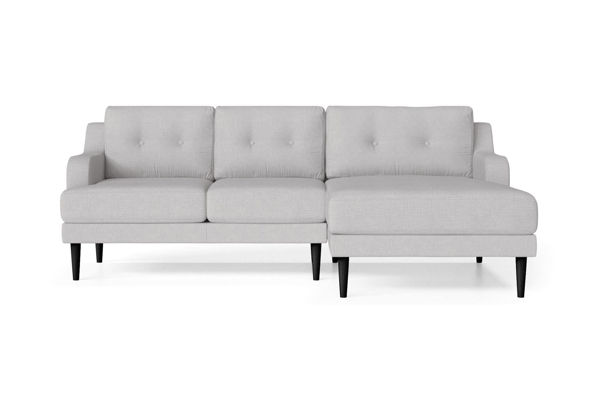 Canapé d'angle droit 4 places toucher lin gris clair