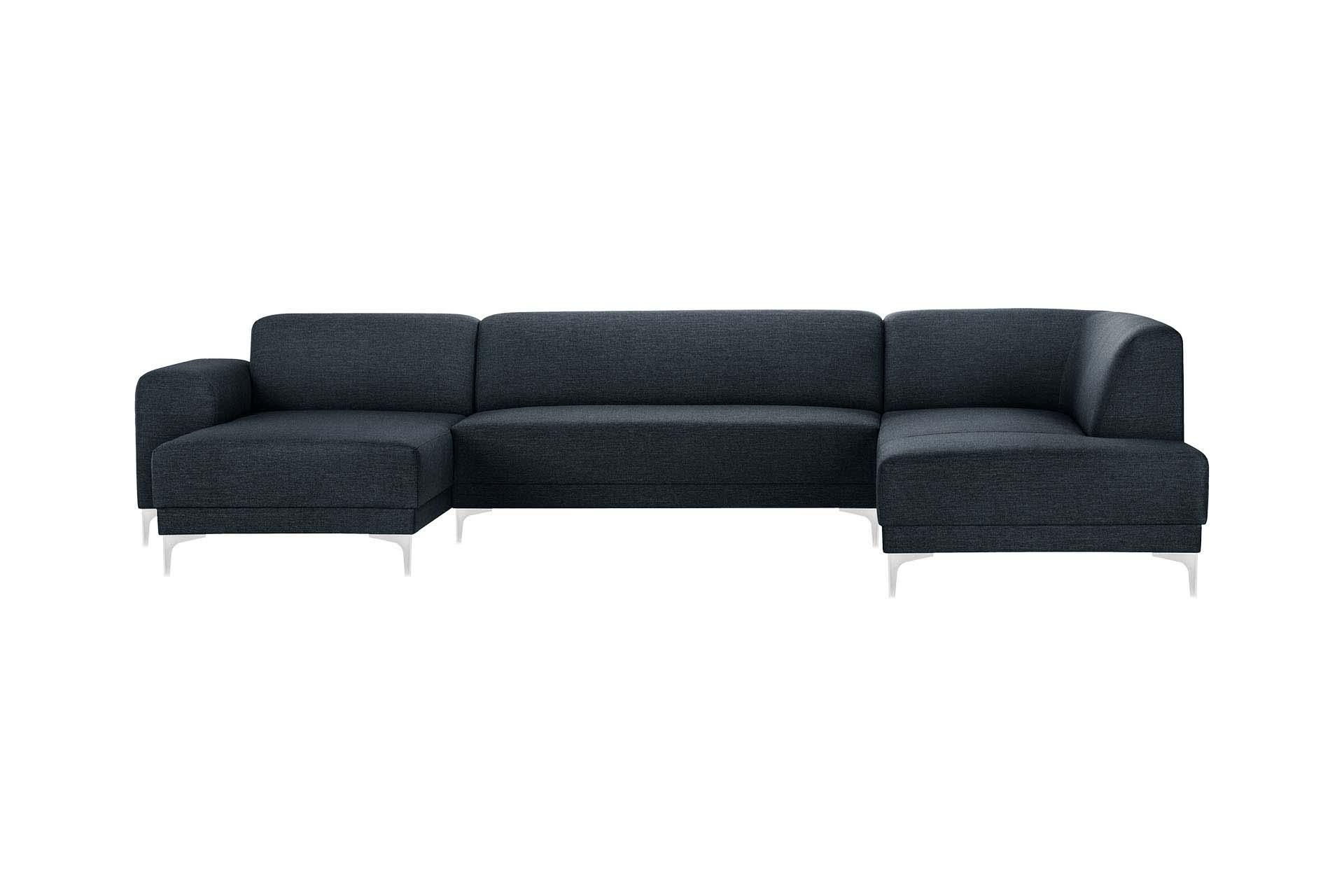 Canapé d'angle gauche 6 places toucher lin bleu marine