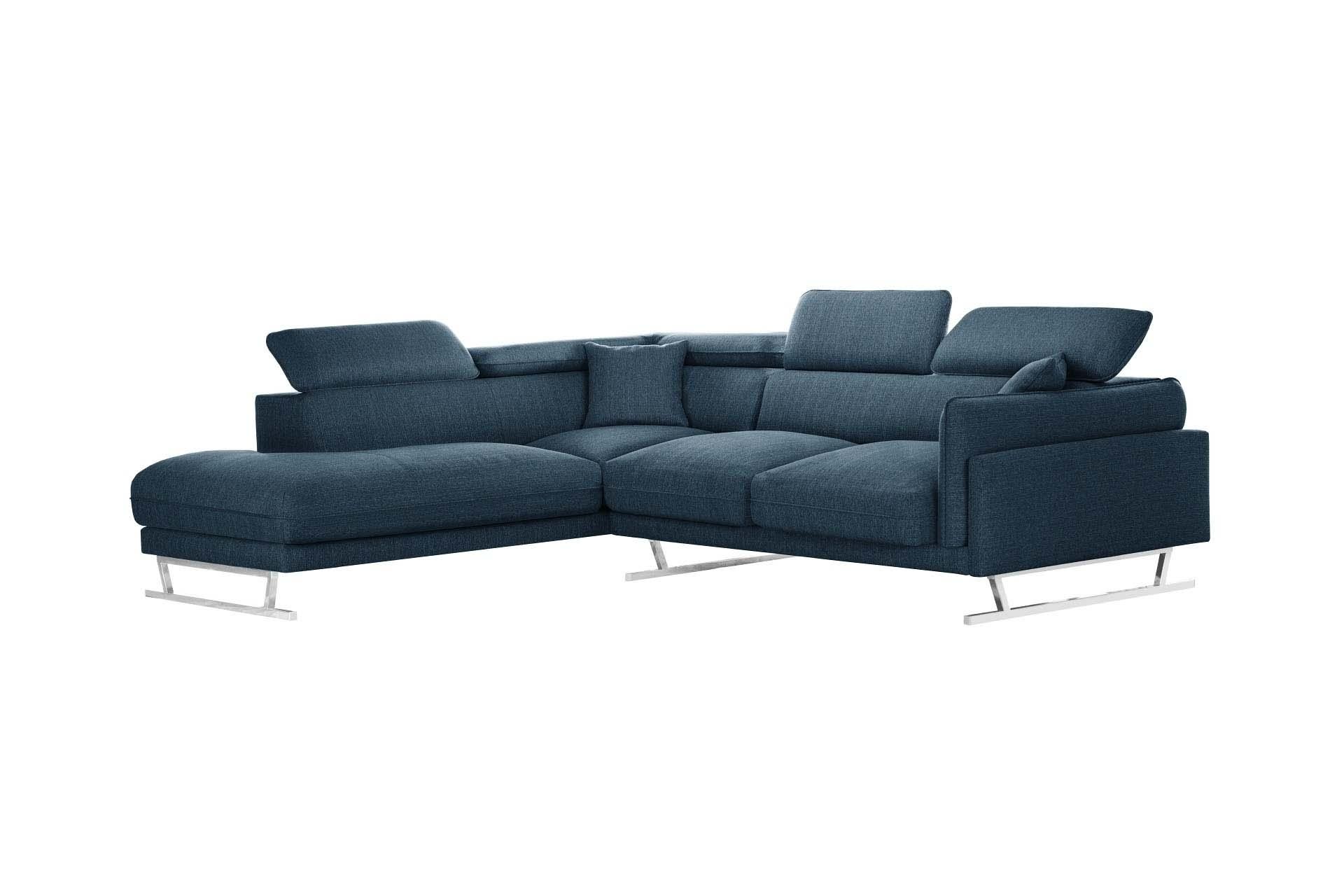 Canapé d'angle gauche 6 places toucher lin bleu jeans