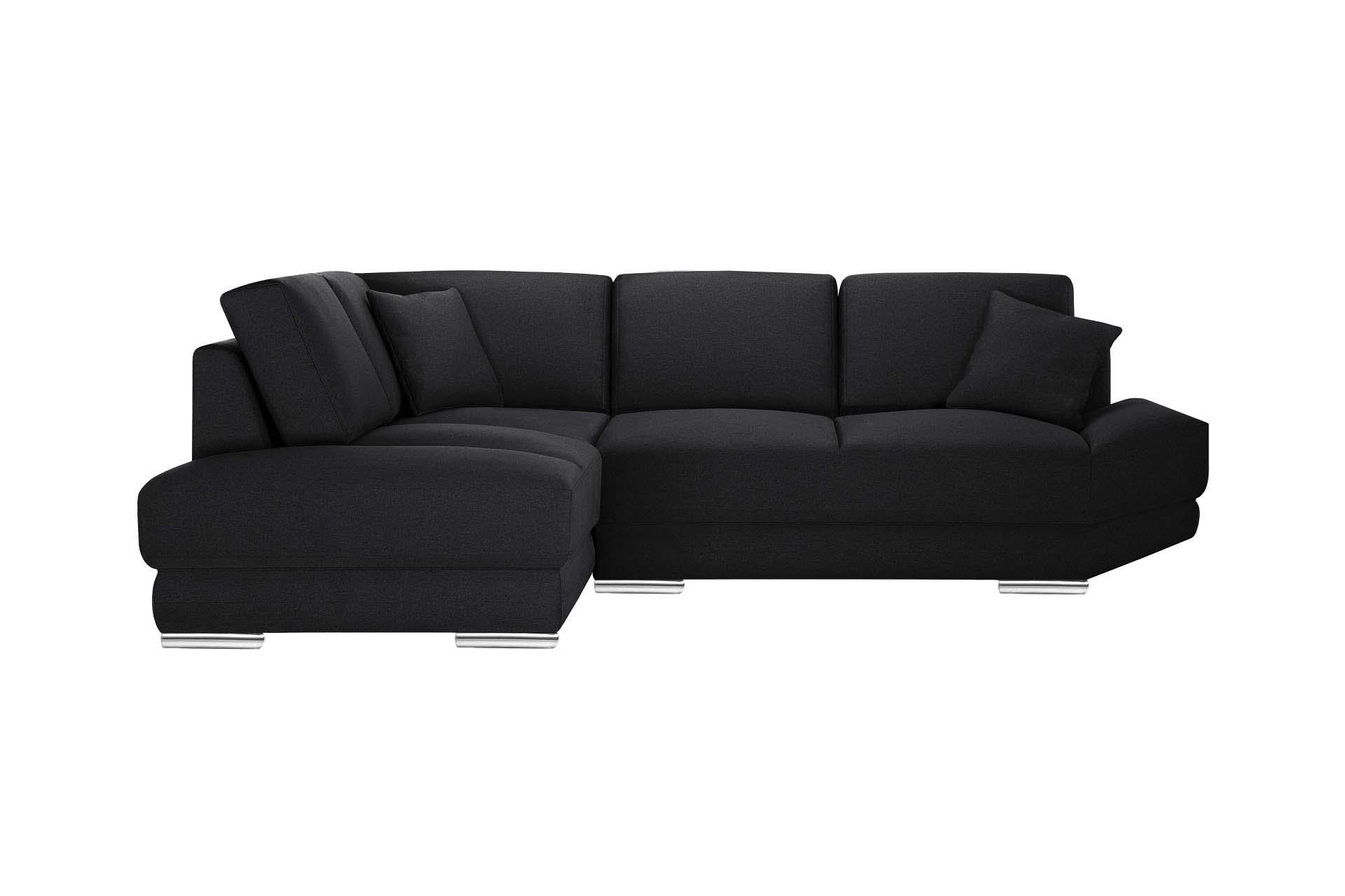 Canapé d'angle 5 places Noir Tissu
