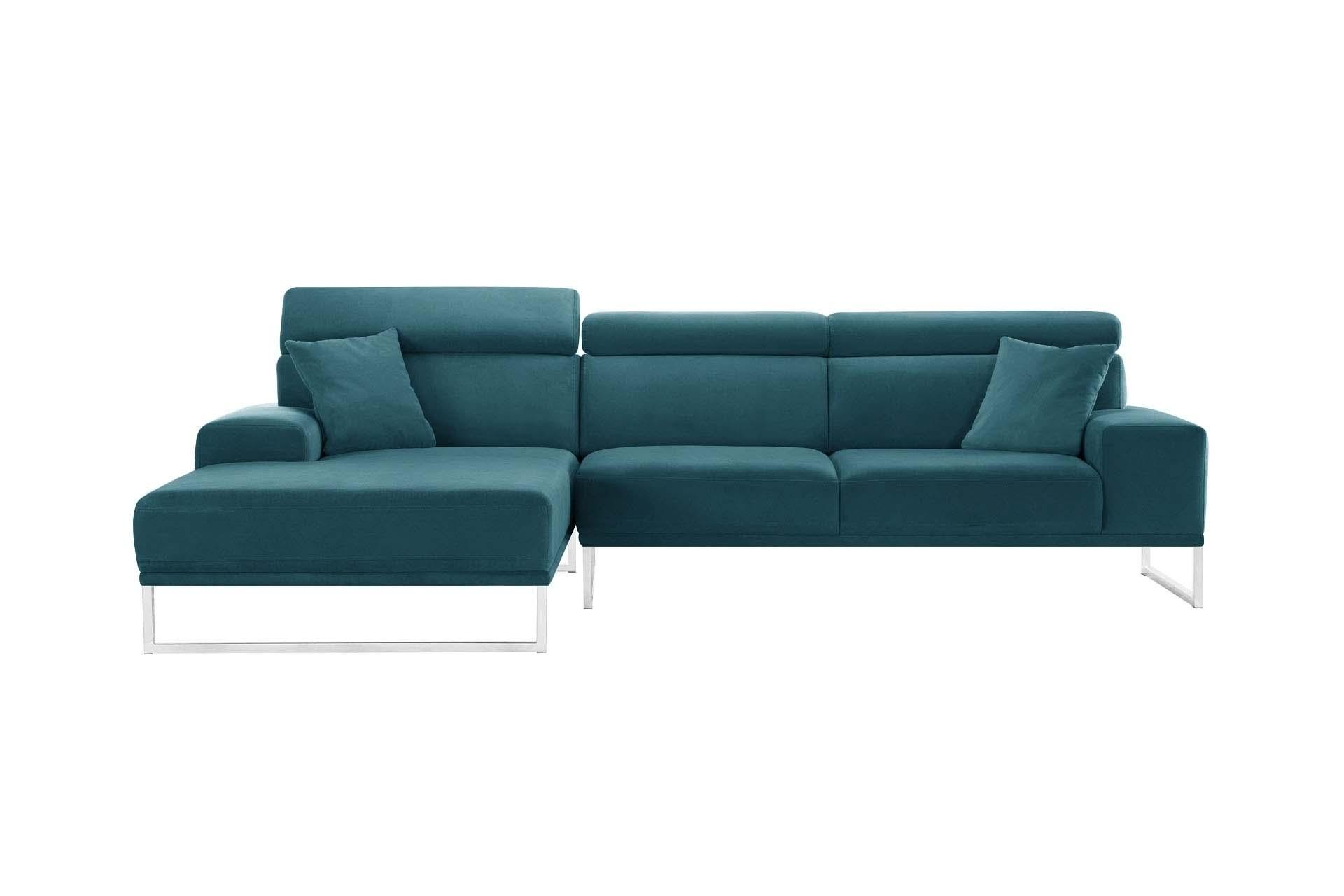 Canapé d'angle 5 places Bleu Velours Luxe Confort