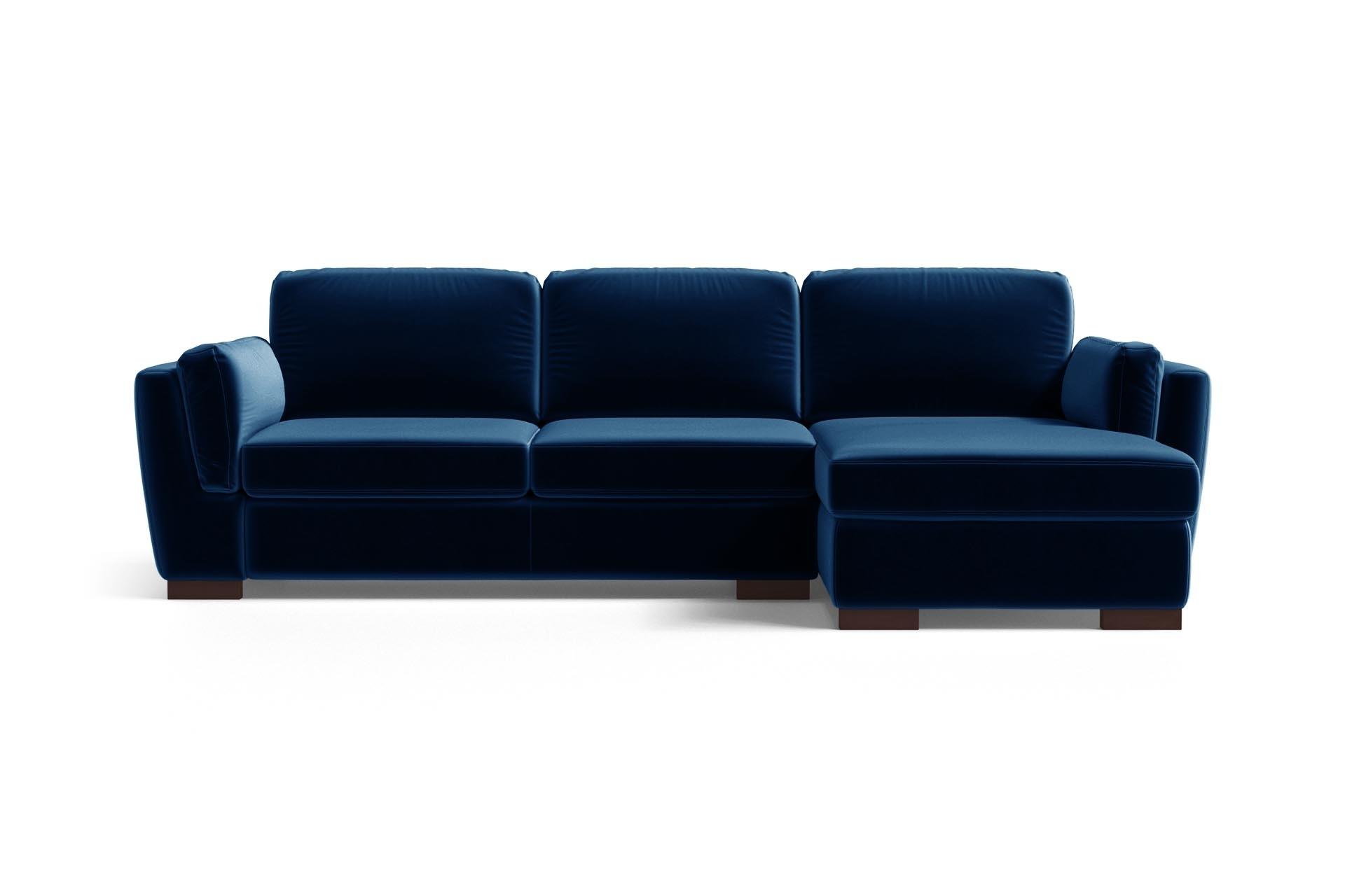 Canapé d'angle 4 places Bleu Velours Luxe Design