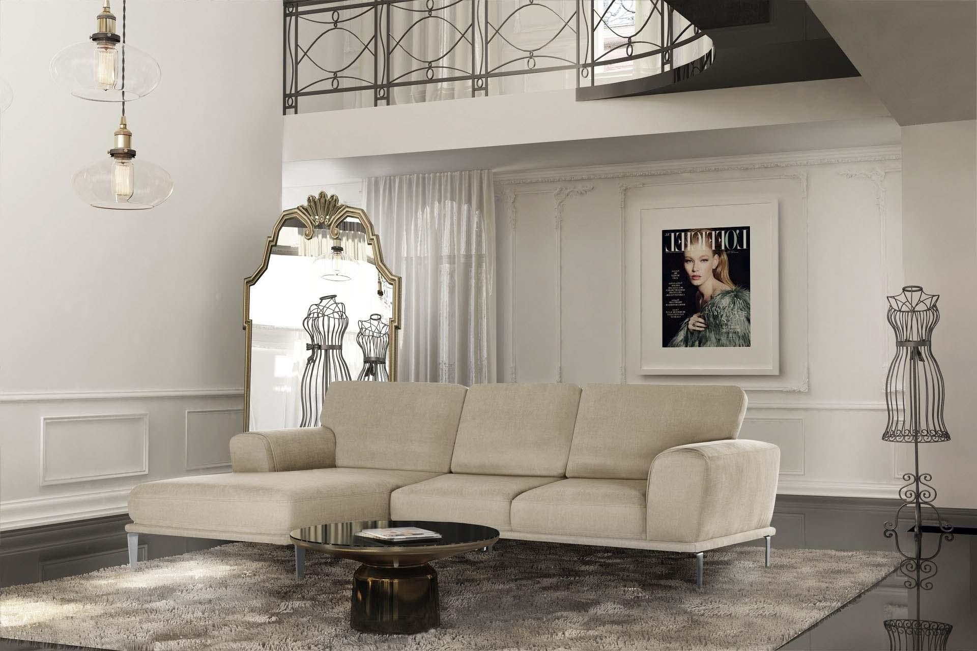 Canapé d'angle gauche 5 places toucher coton beige