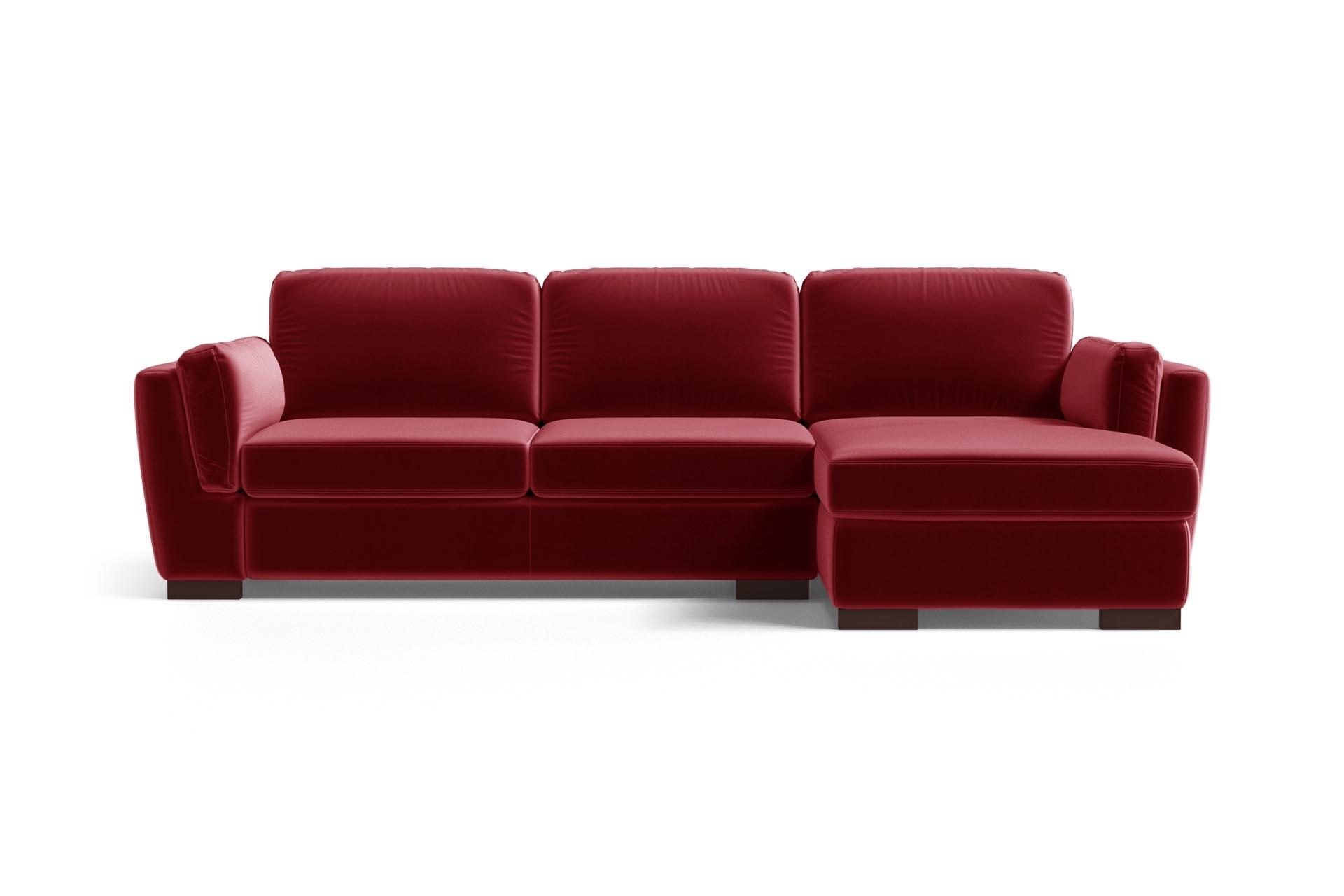 Canapé d'angle 4 places Rouge Velours Luxe Design