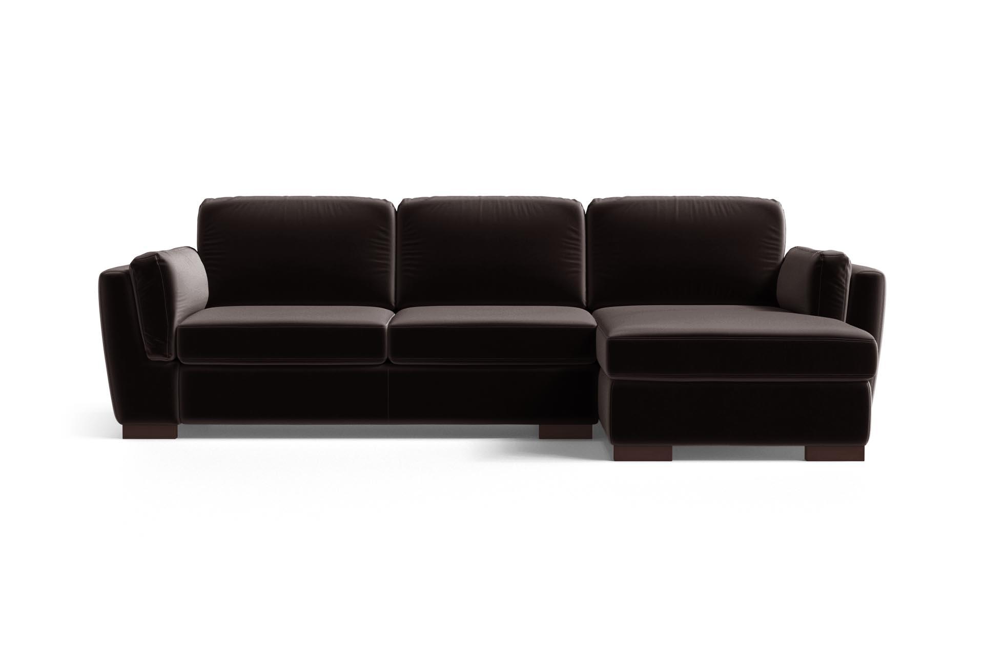 Canapé d'angle 4 places Marron Velours Luxe Design