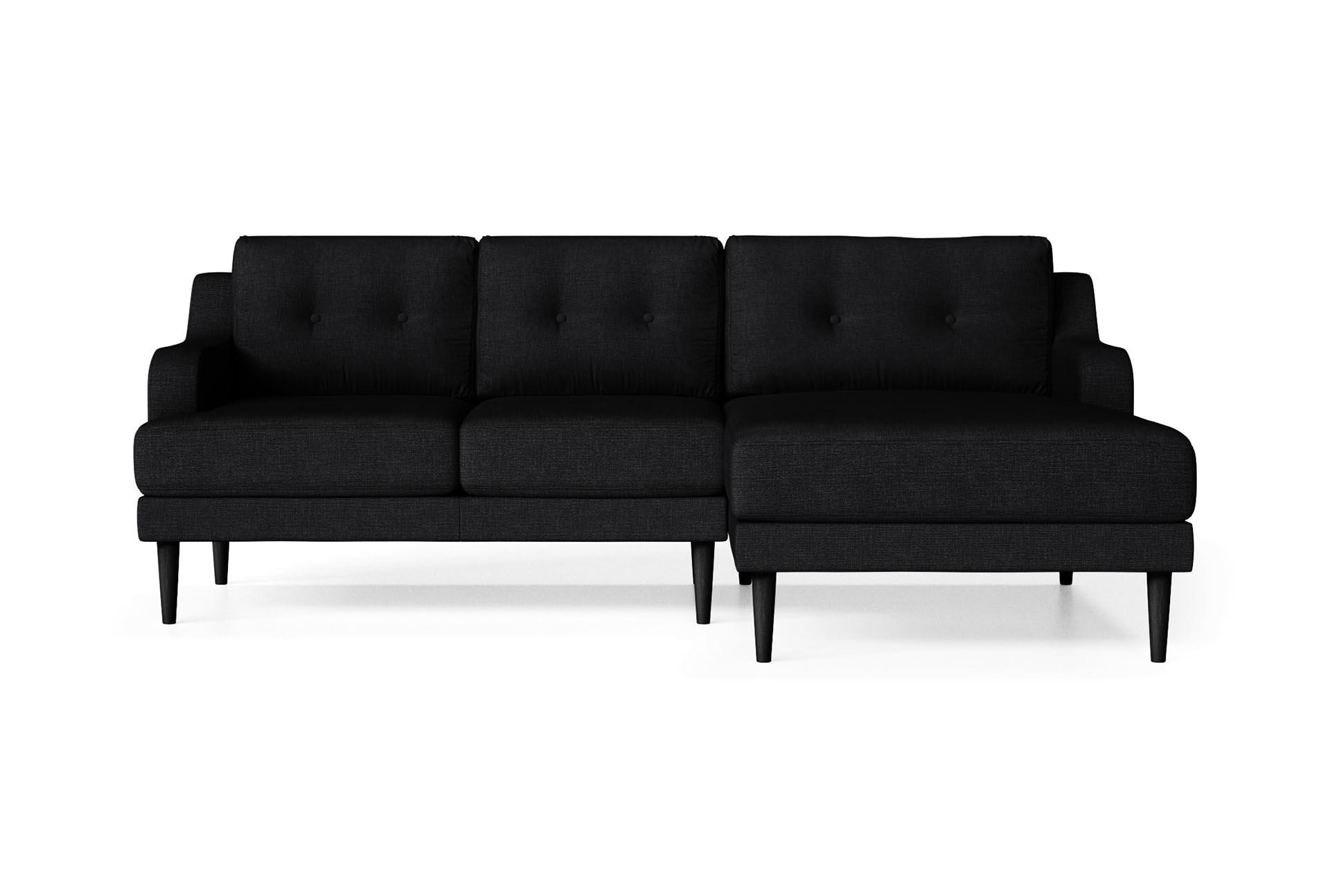 Canapé d'angle 4 places Noir Contemporain Confort