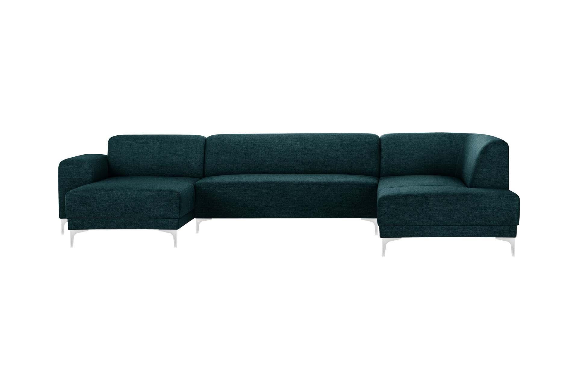 Canapé d'angle gauche 6 places toucher lin turquoise