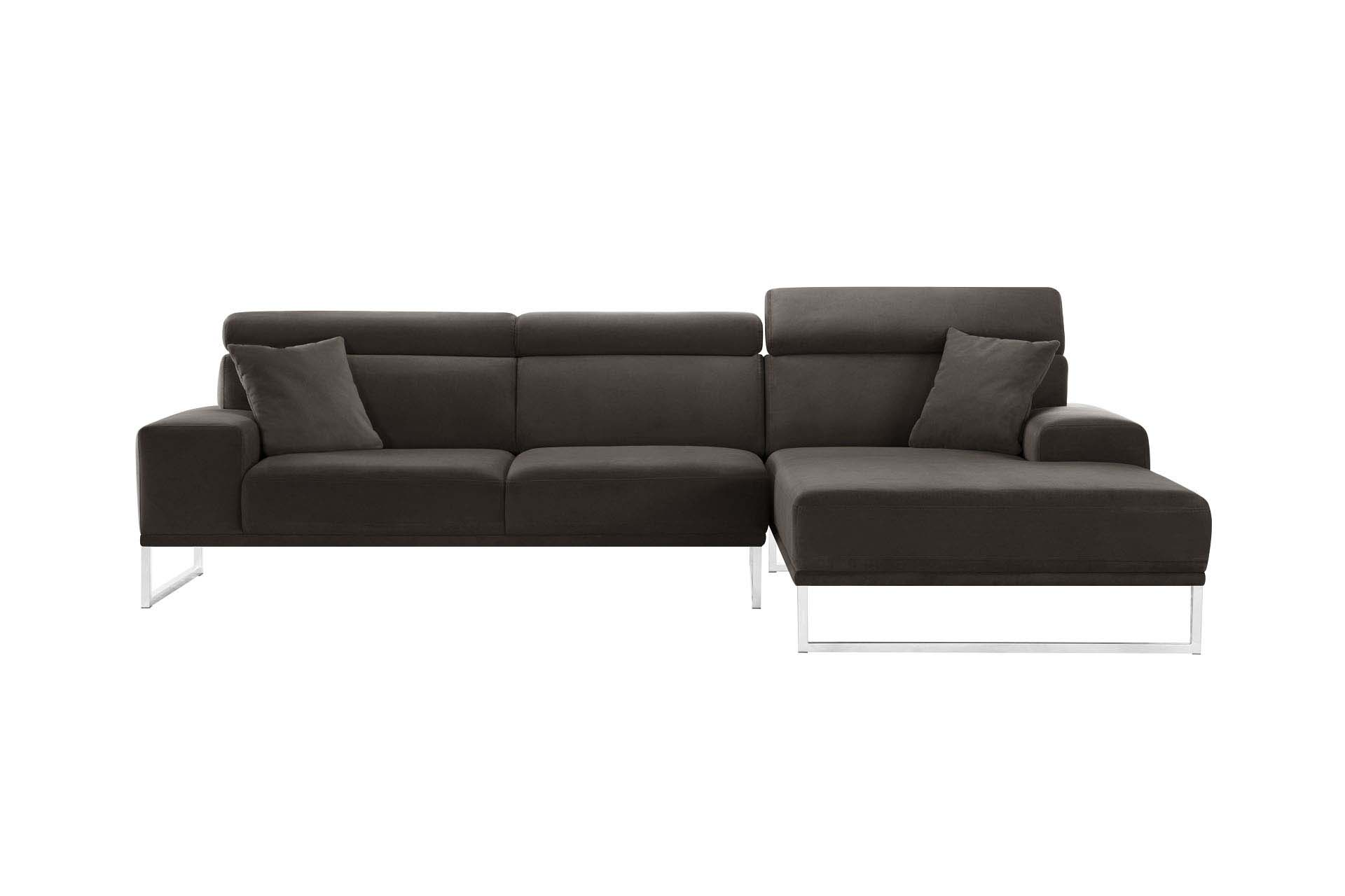 Canapé d'angle droit 5 places en velours marron cendré