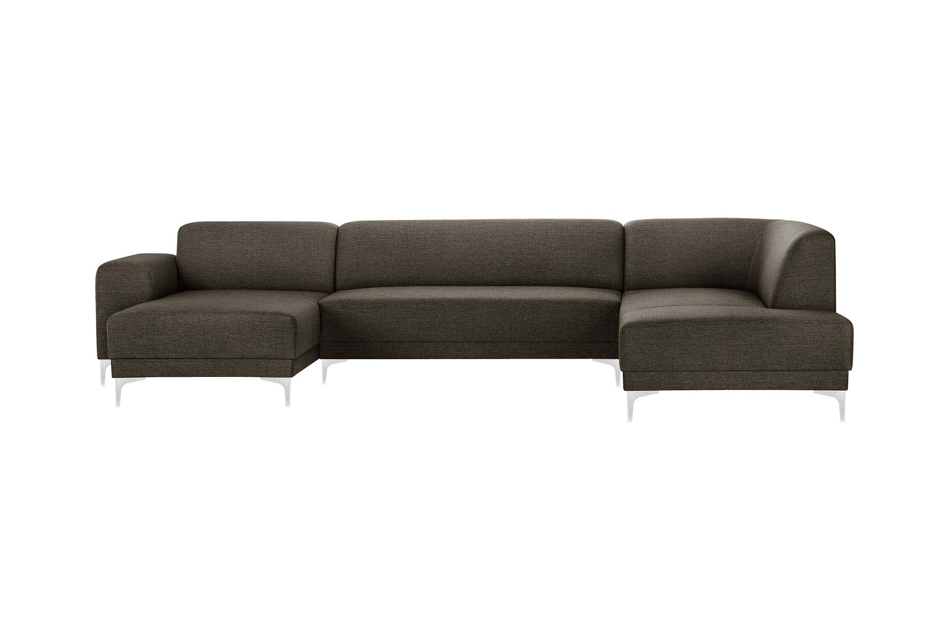 Canapé d'angle gauche 6 places toucher lin noisette
