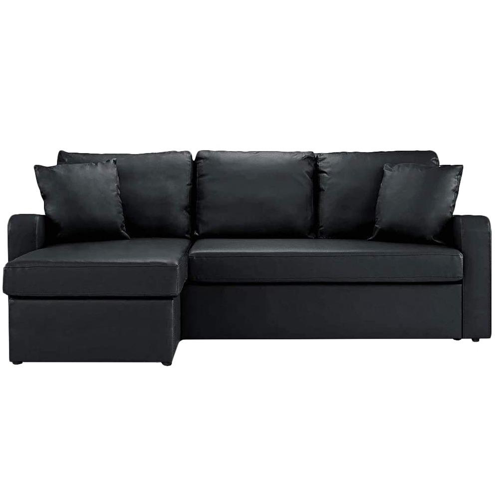 Canapé d'angle convertible réversible 4 places effet cuir noir