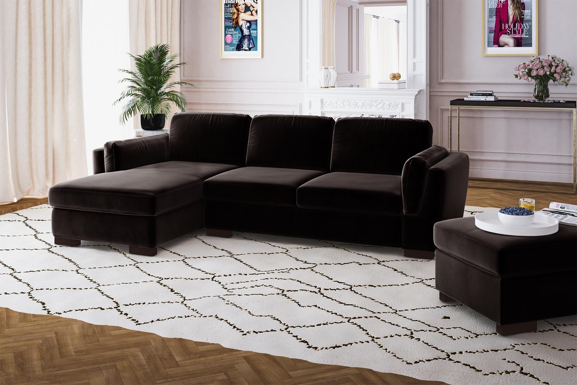Canapé d'angle gauche 4 places en velours marron